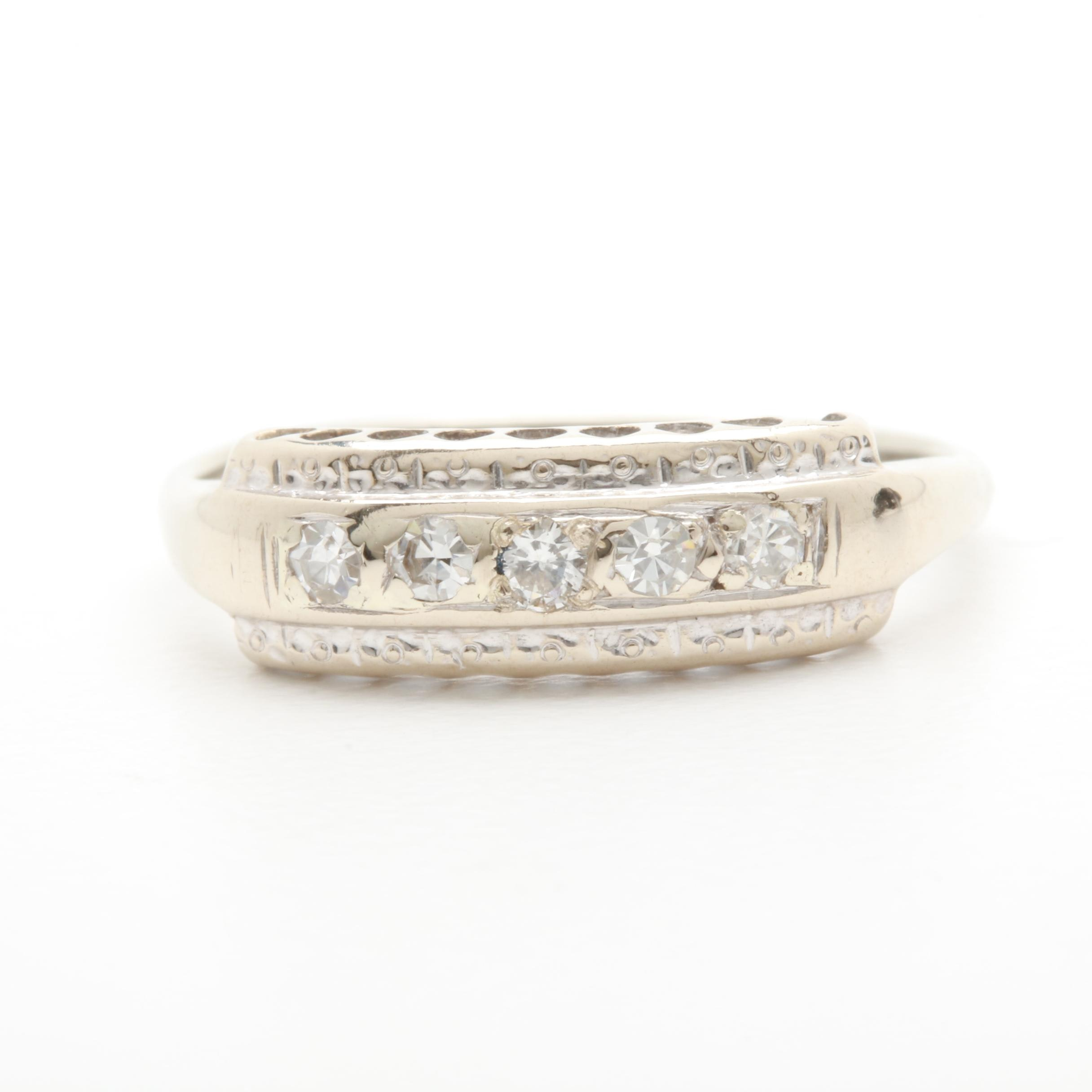 Vintage 1930s 14K White Gold Diamond Ring with 18K White Gold Accent