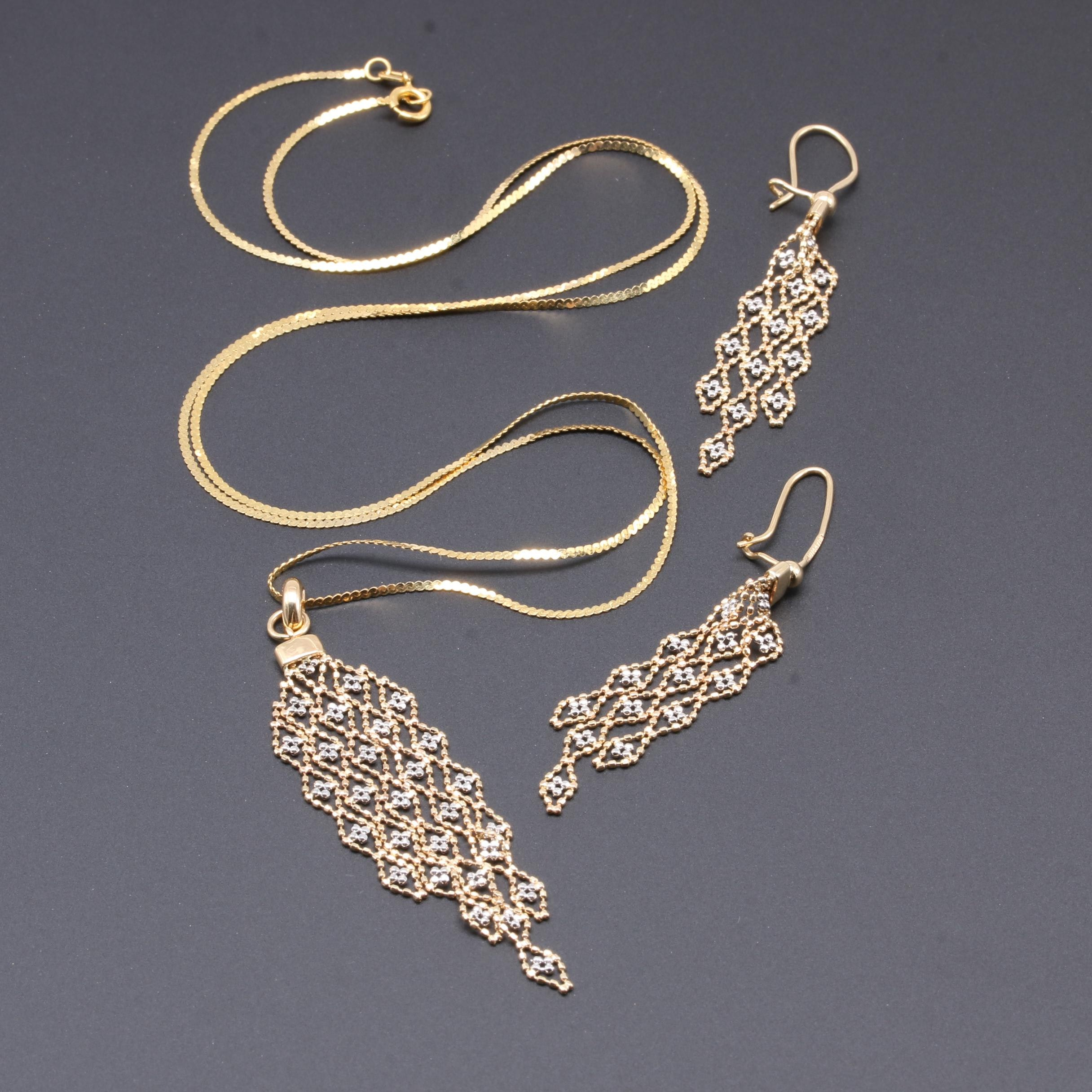 14K Yellow and White Gold Demi Parure with Mesh Accents