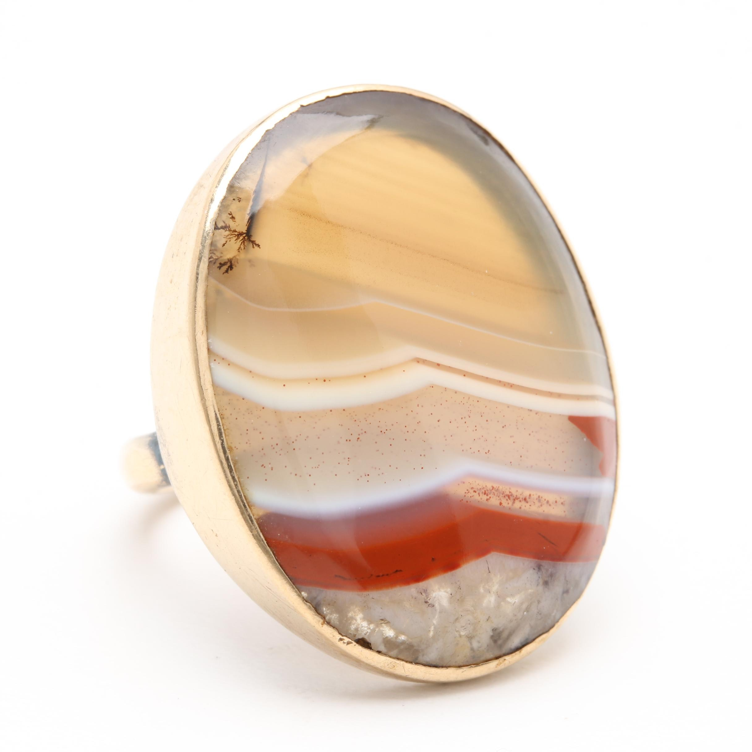 Antique 9K Yellow Gold Agate Ring