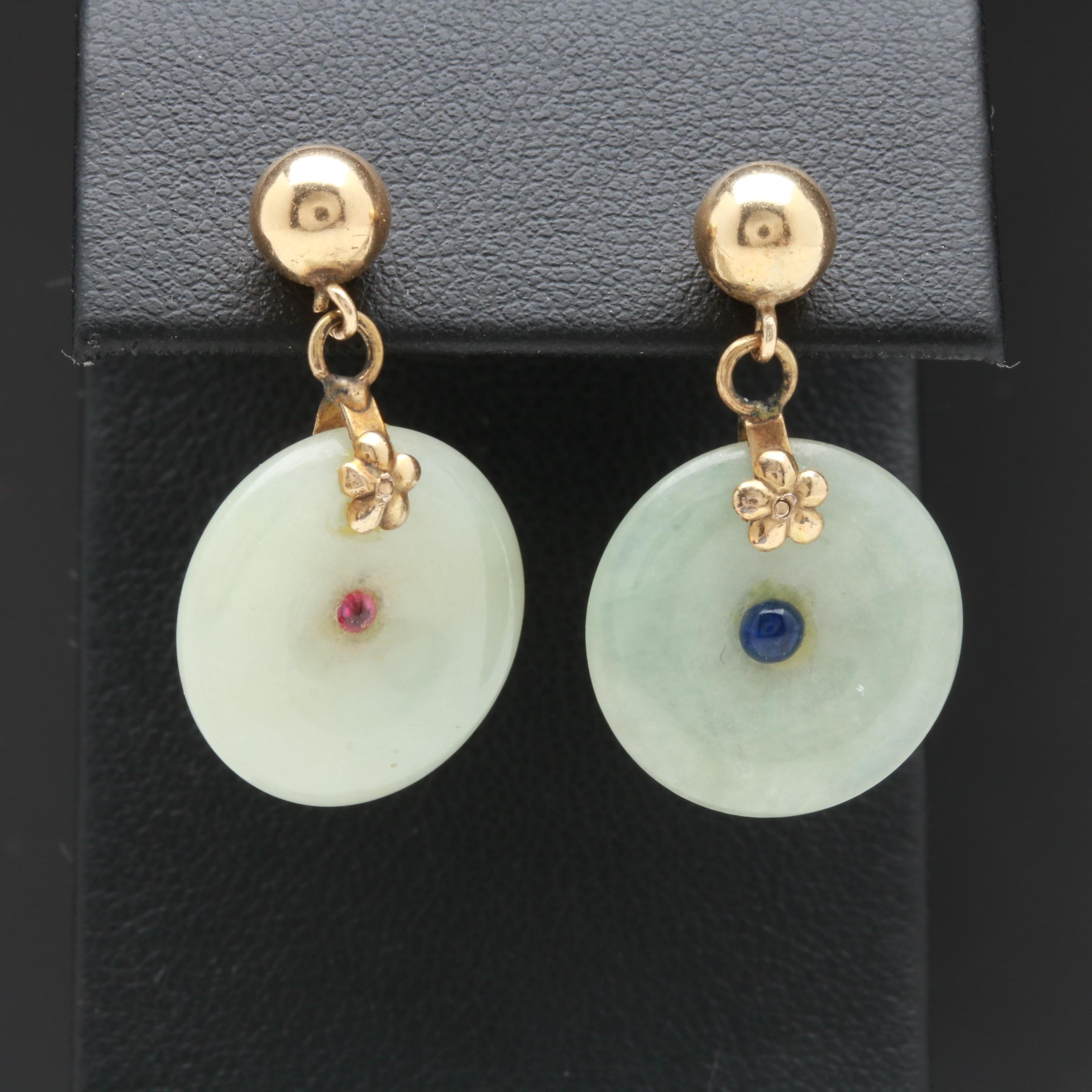 14K Yellow Gold Jadeite, Synthetic Ruby, and Blue Sapphire Earrings