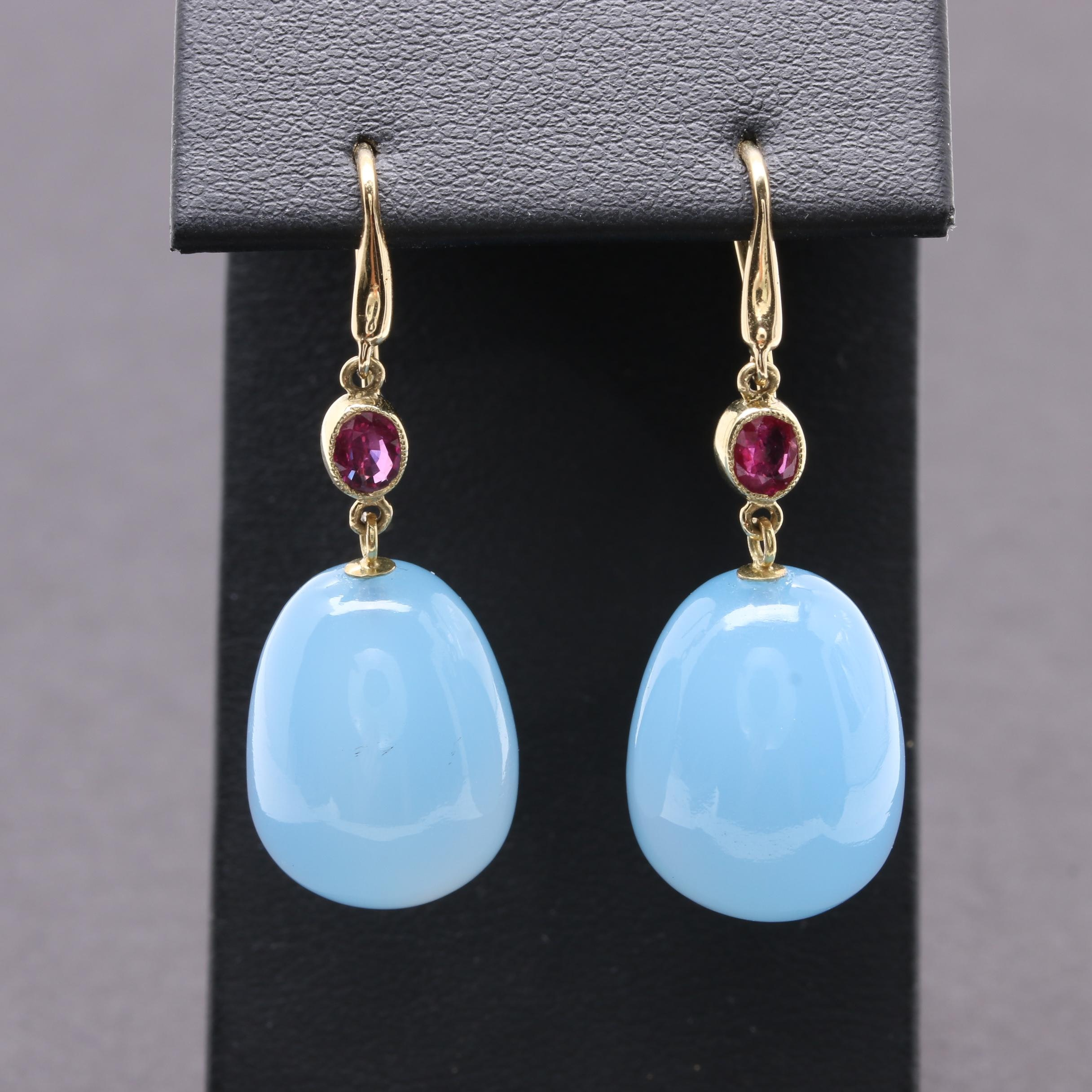 18K Yellow Gold Chalcedony and Ruby Drop Earrings
