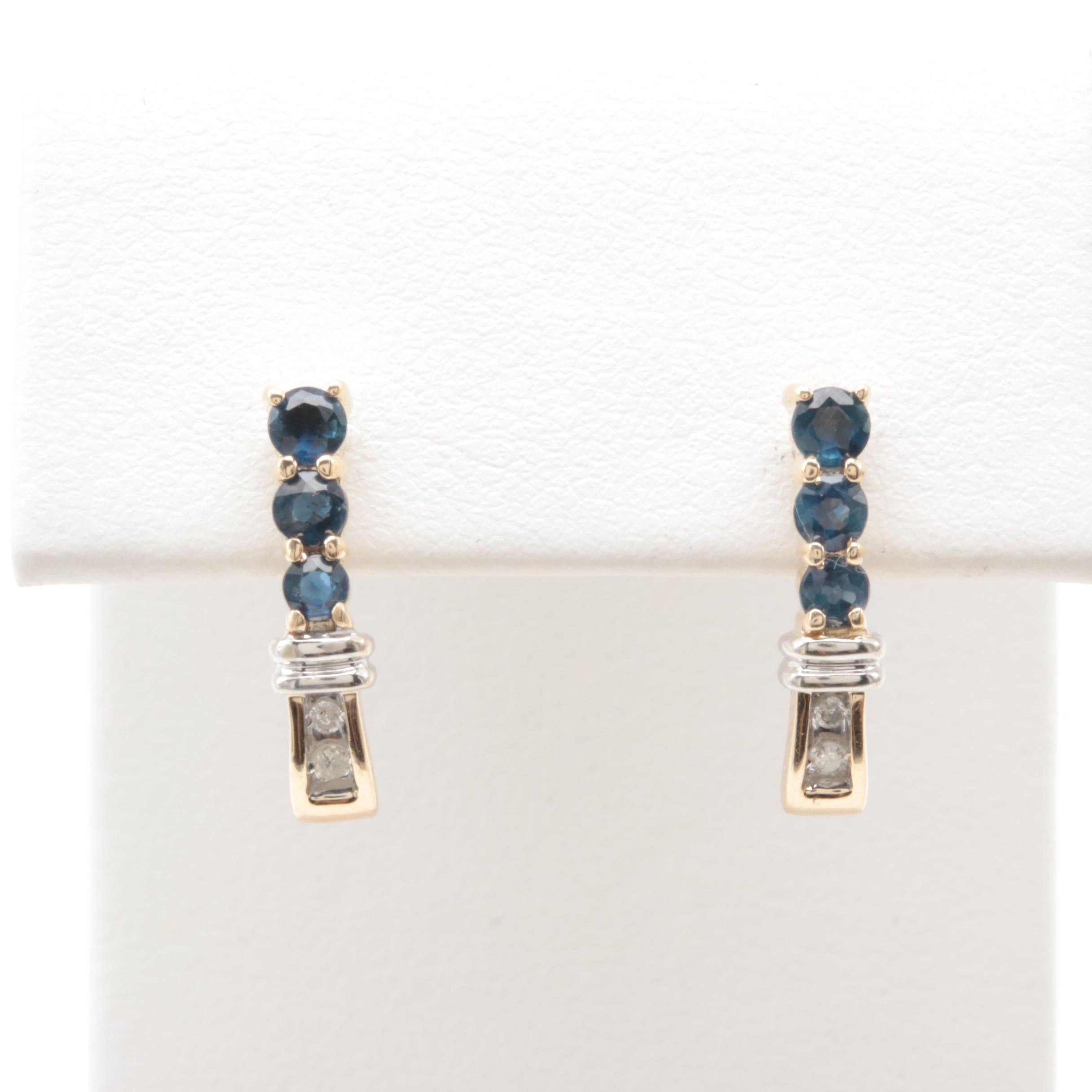 10K Yellow Gold Blue Sapphire and Diamond Earrings with White Gold Accents