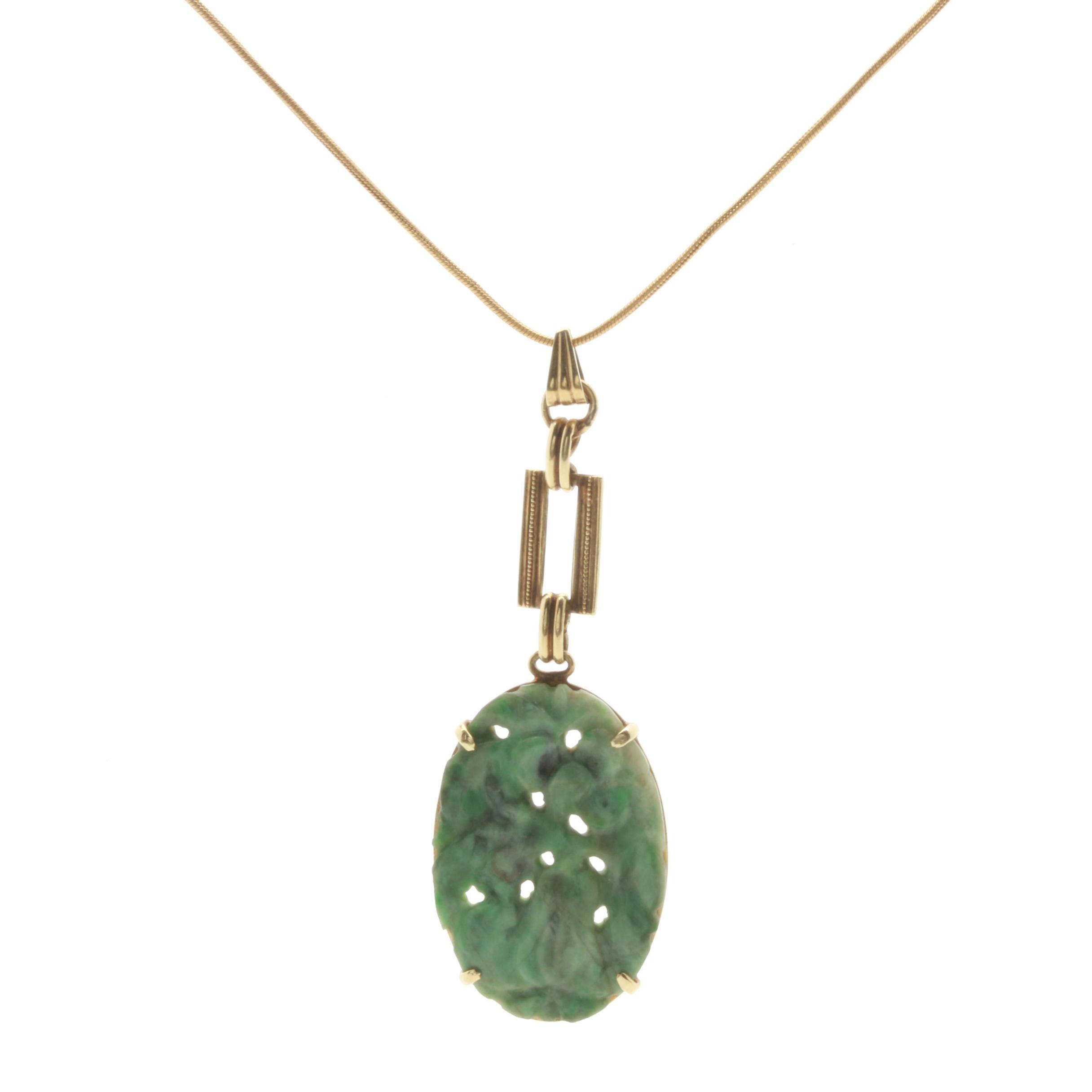 Vintage 14K Yellow Gold Nephrite Pendant Necklace