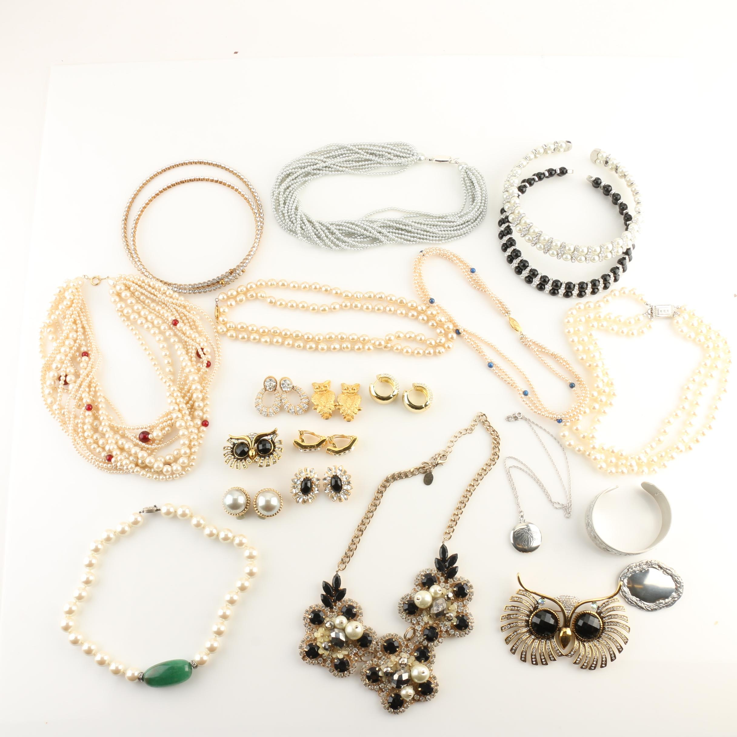 Signed Jewelry Assortment Including Imitation Pearl, Ciner, and Sterling Silver