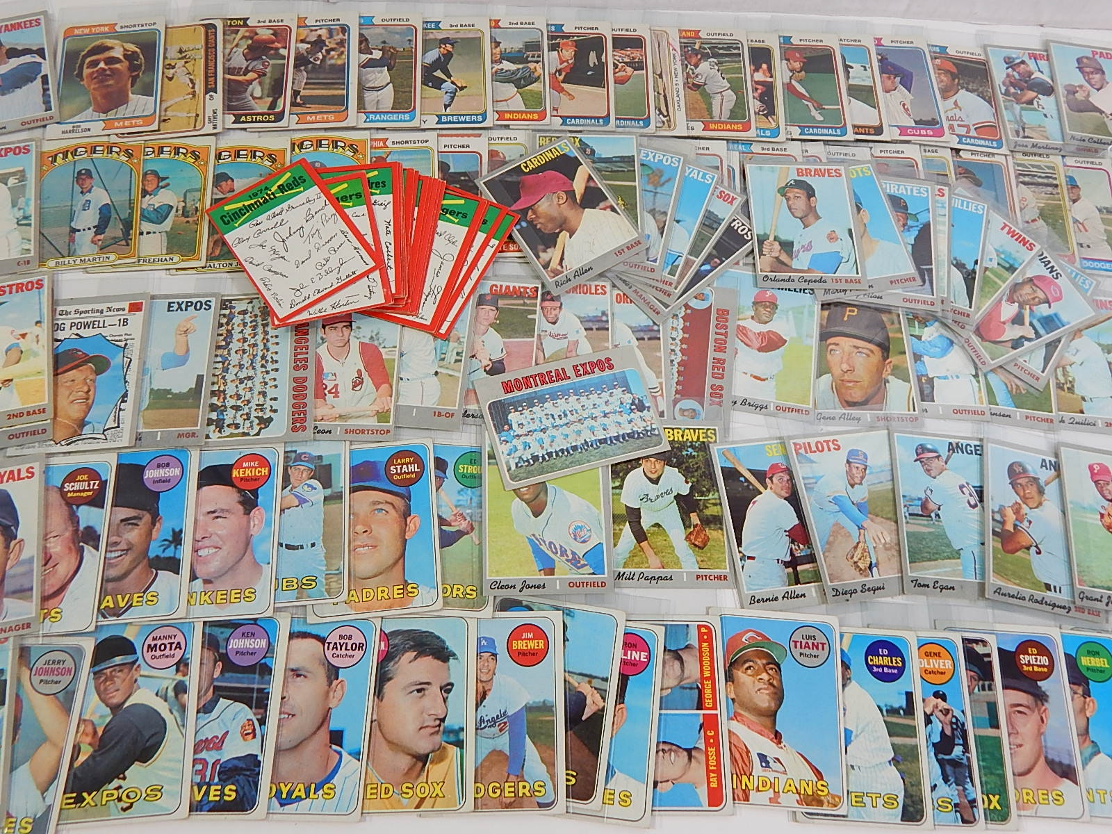 Vintage Topps Baseball Card Collection from 1969 to 1974