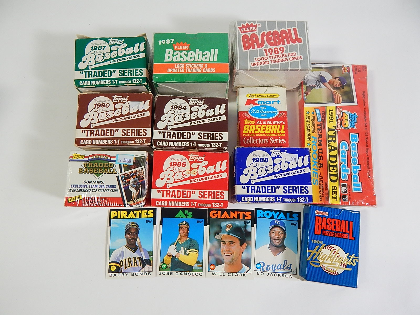 Eleven Baseball Card Sets from 1982 to 1991