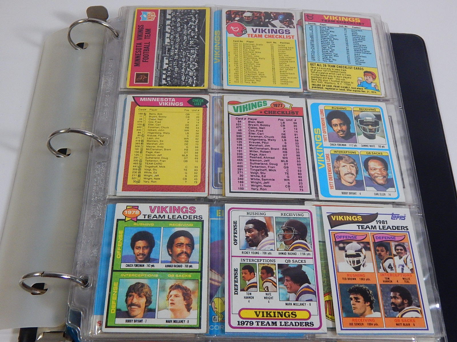 1960s thru 1980s NFL Minnesota Vikings Football Cards in Album