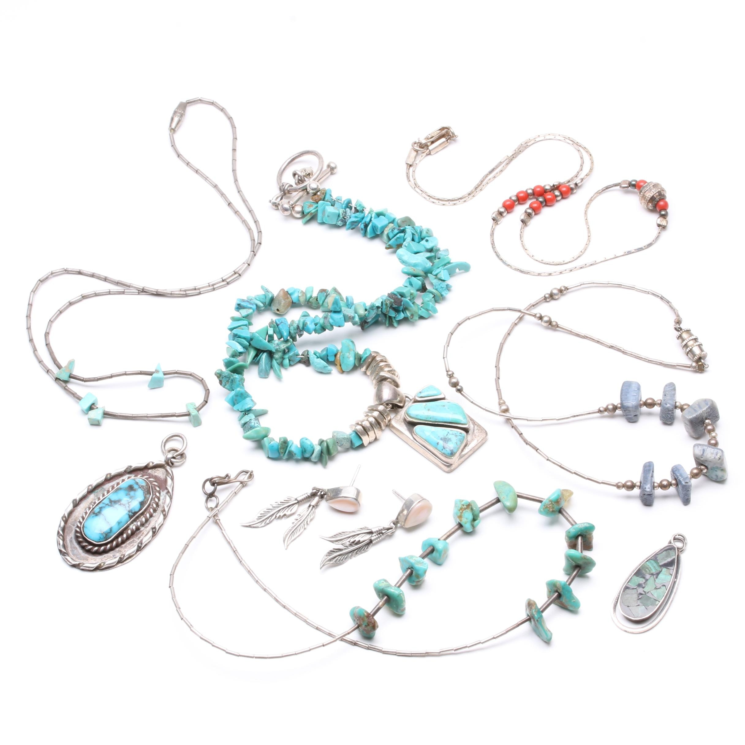 Southwestern Style Sterling Silver Turquoise and Coral Jewelry Assortment