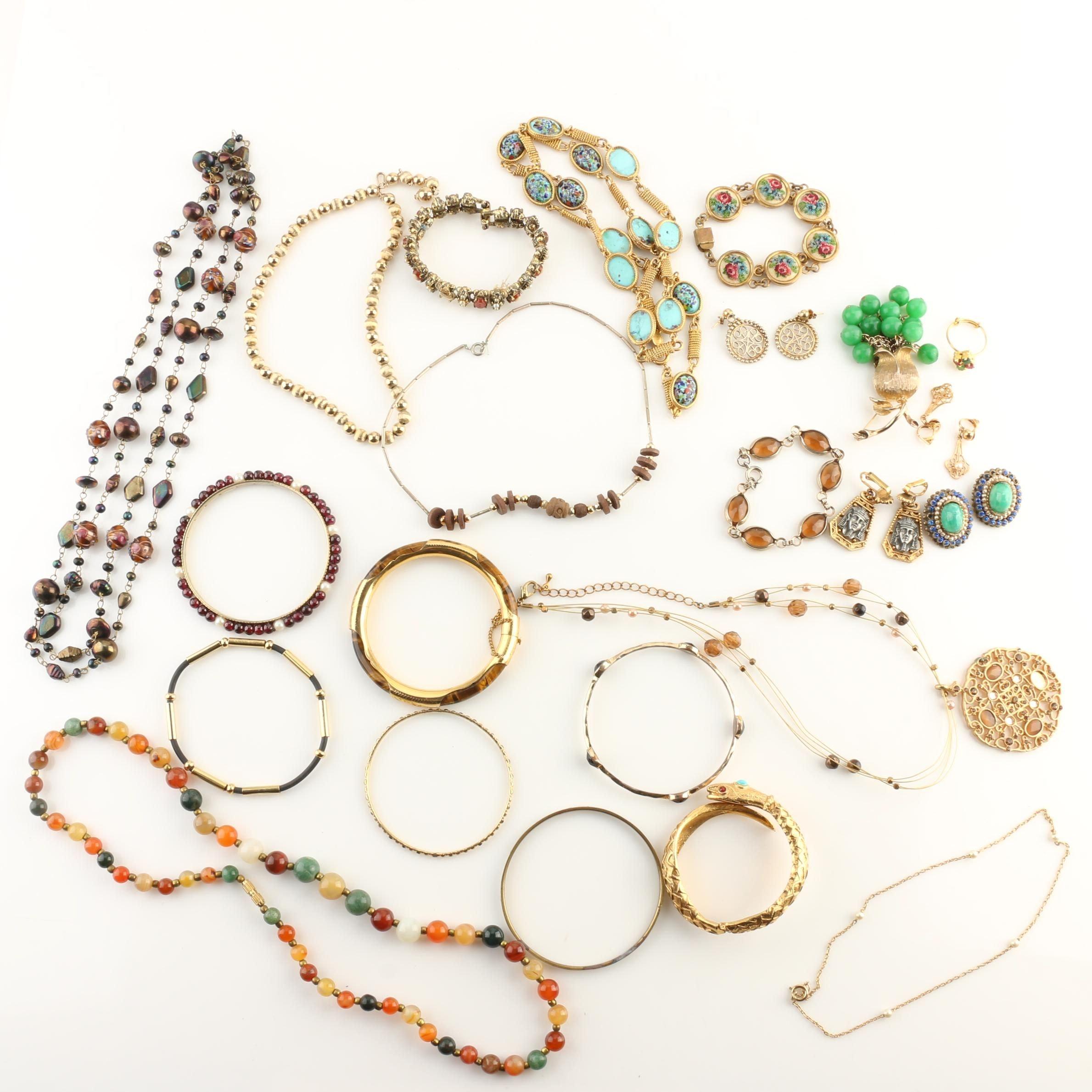 Gold-Tone Jewelry Assortment Including Agate, Jasper, Garnet, and Glass