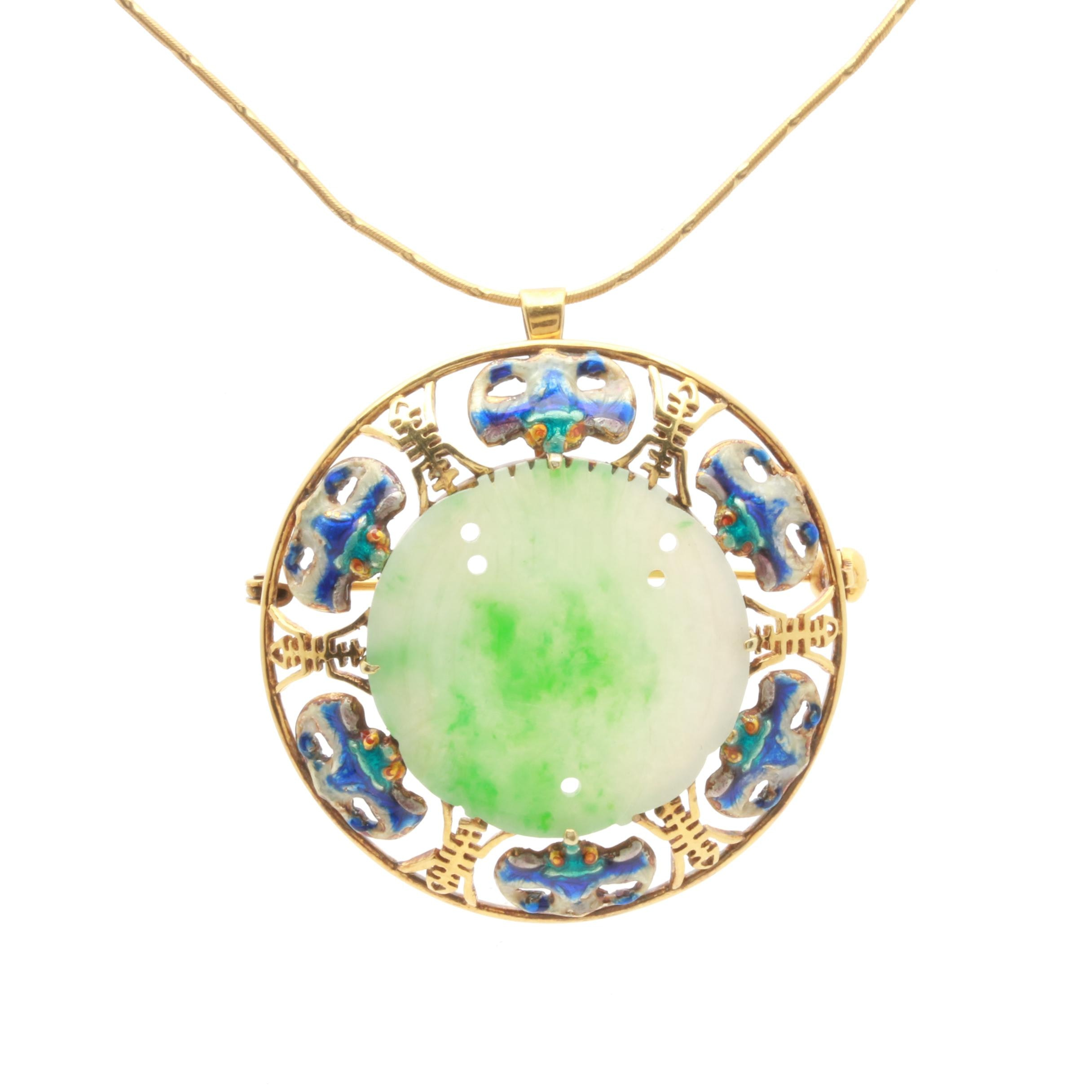 14K Yellow Gold Necklace with Chinese Jadeite and Enamel Pendant Brooch