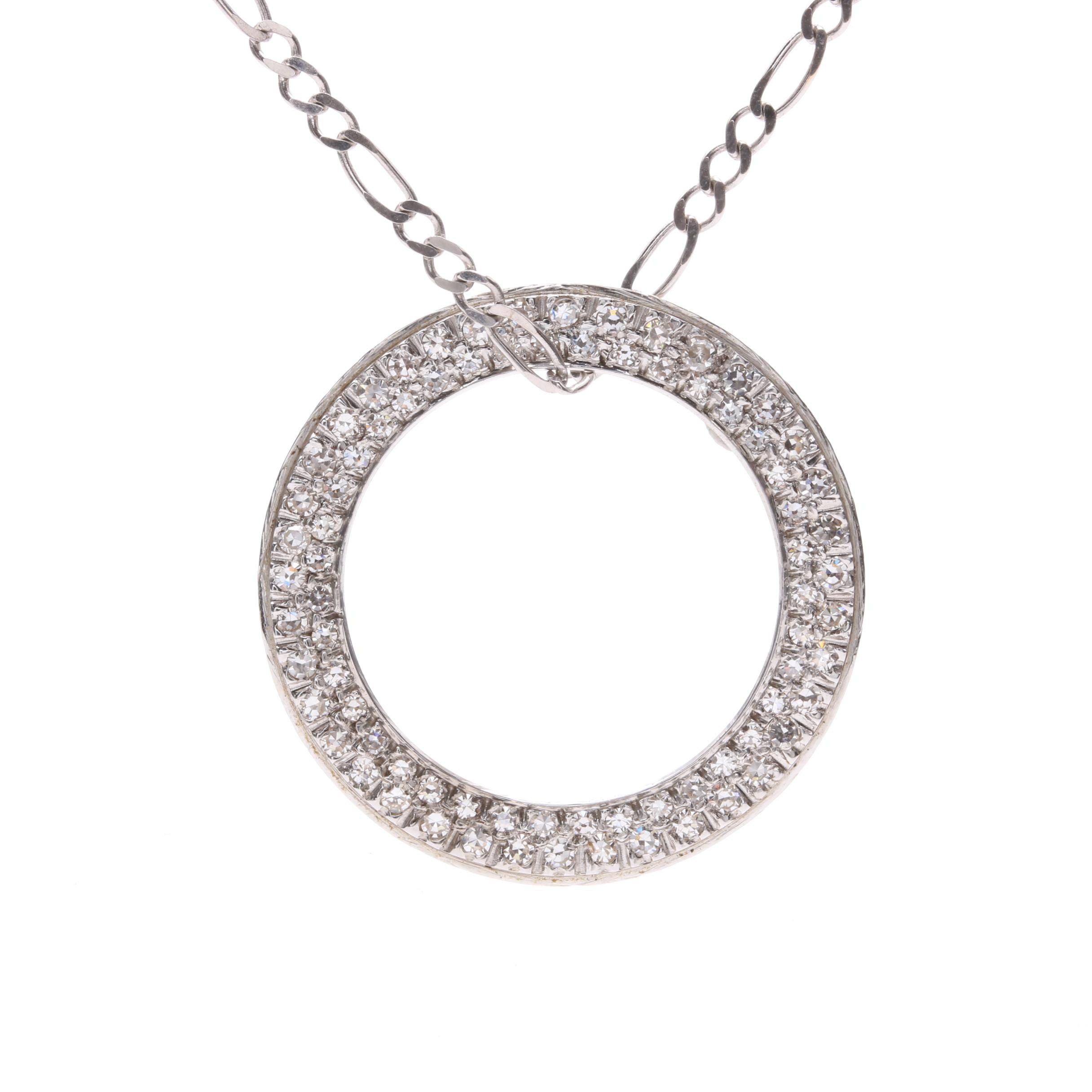 10K and 14K White Gold Diamond Pendant Necklace