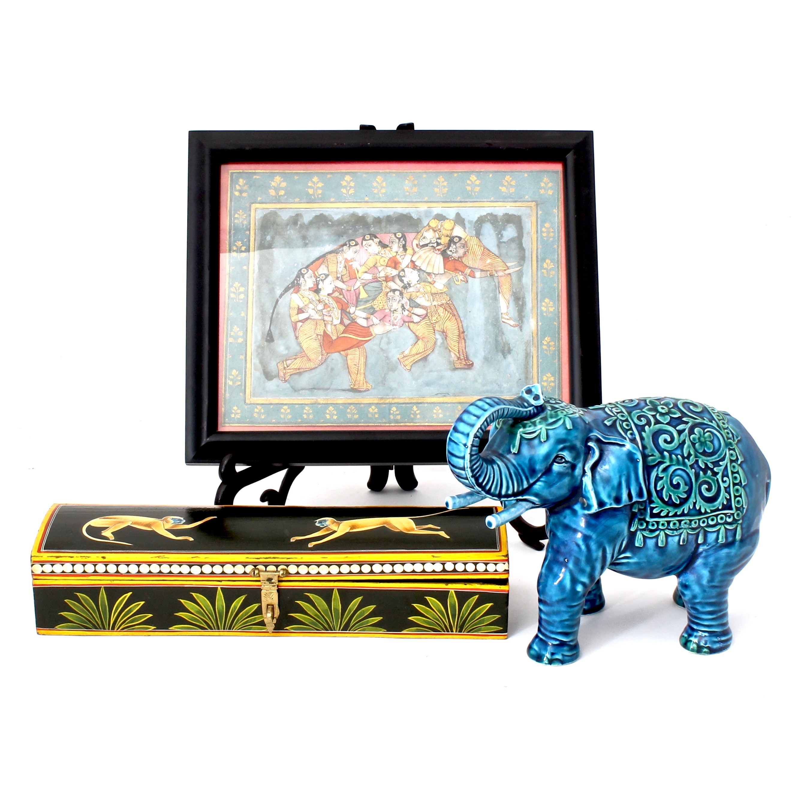 Asian Collectibles Including Ceramic Elephant, Wooden Box and Print