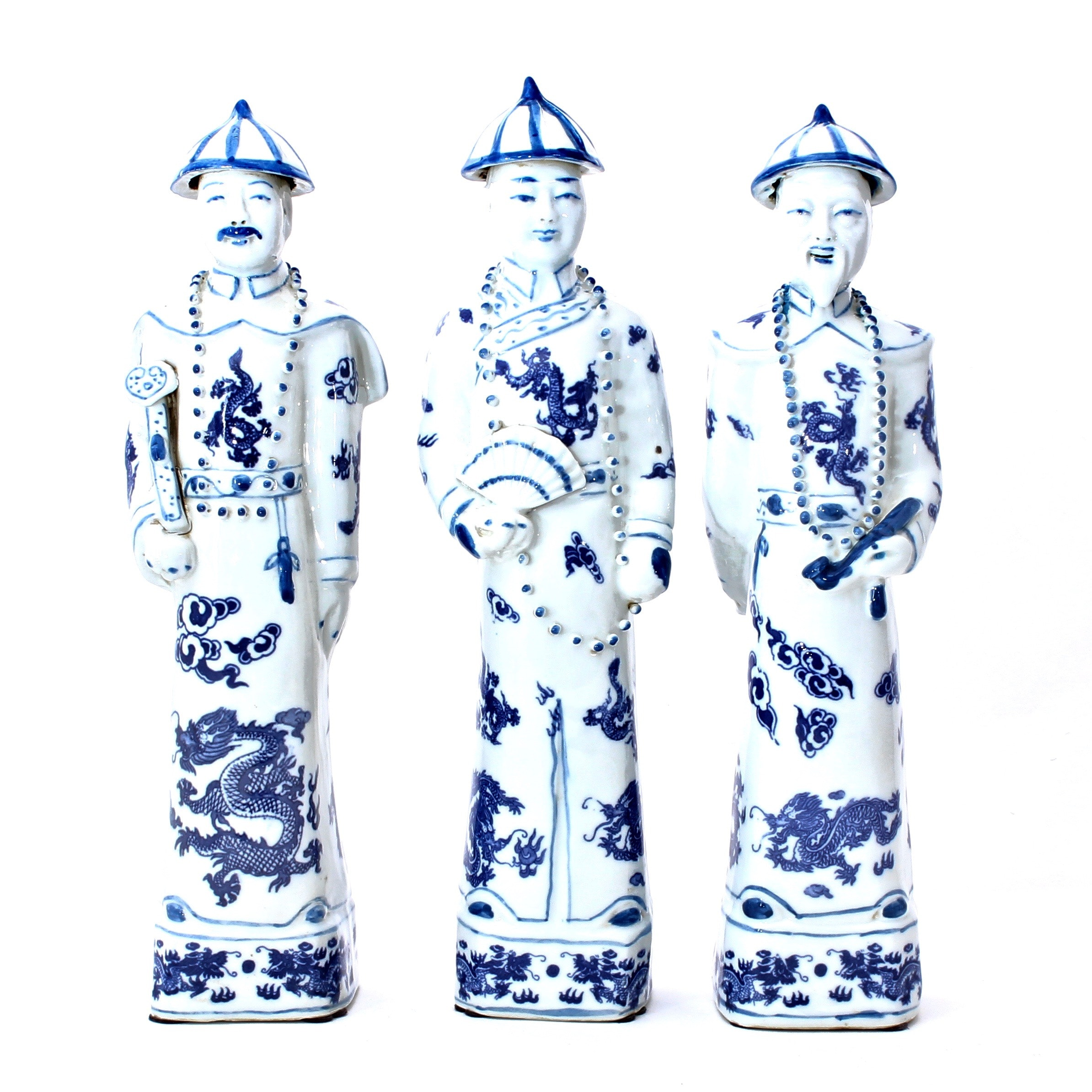 Vintage Chinese Blue and White Porcelain Figurines
