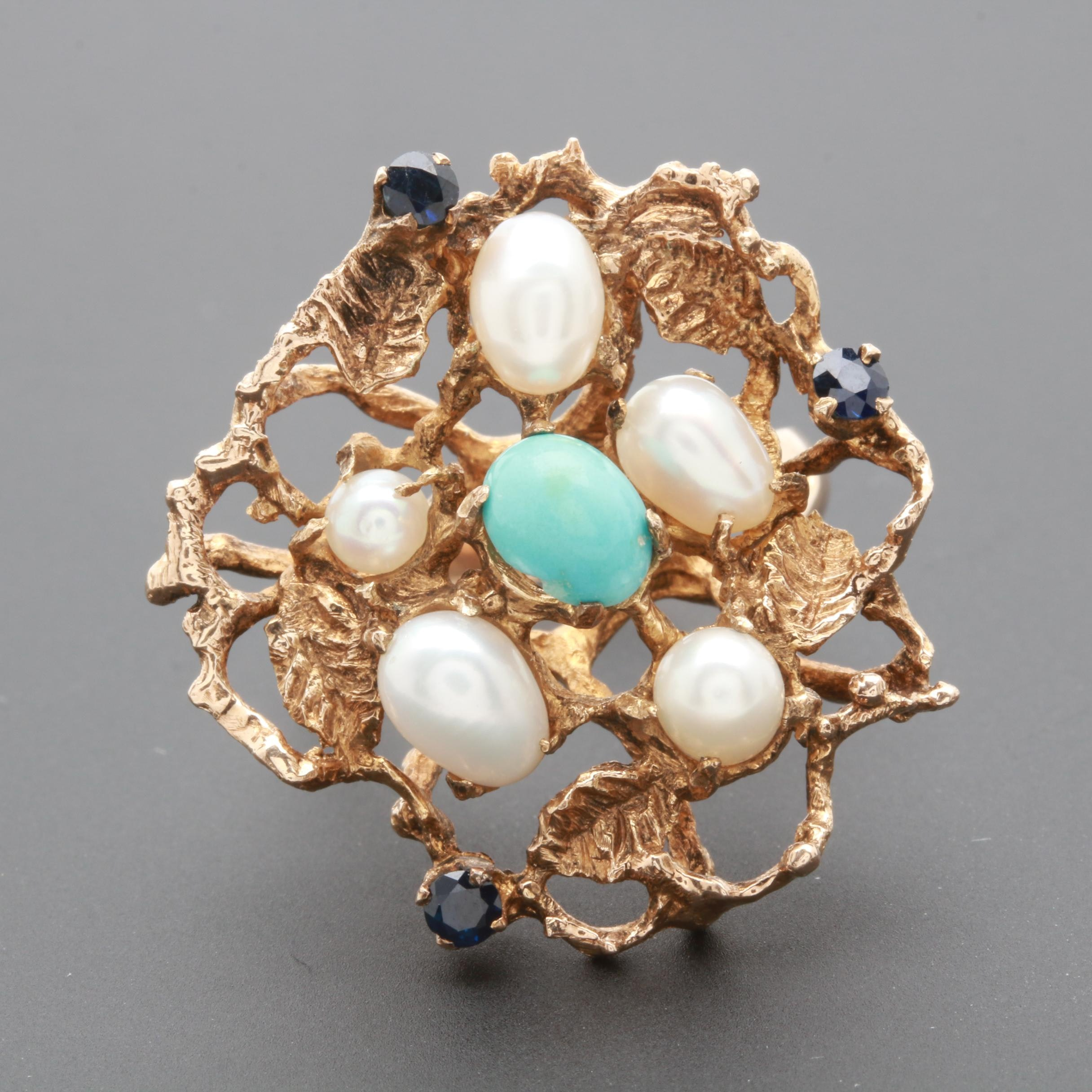 10K Yellow Gold Blue Sapphire, Turquoise, and Cultured Pearl Ring