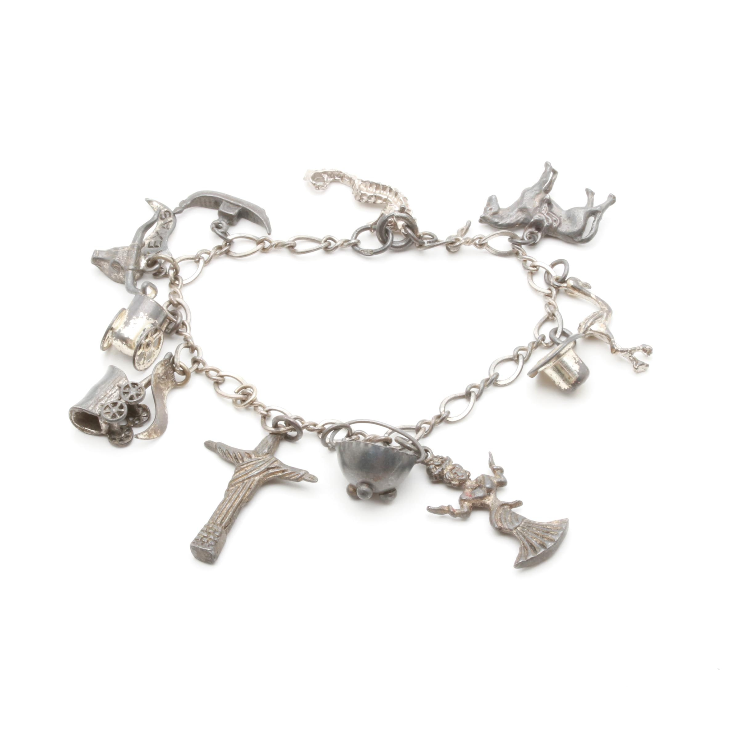 800 and Sterling Silver Charm Bracelet