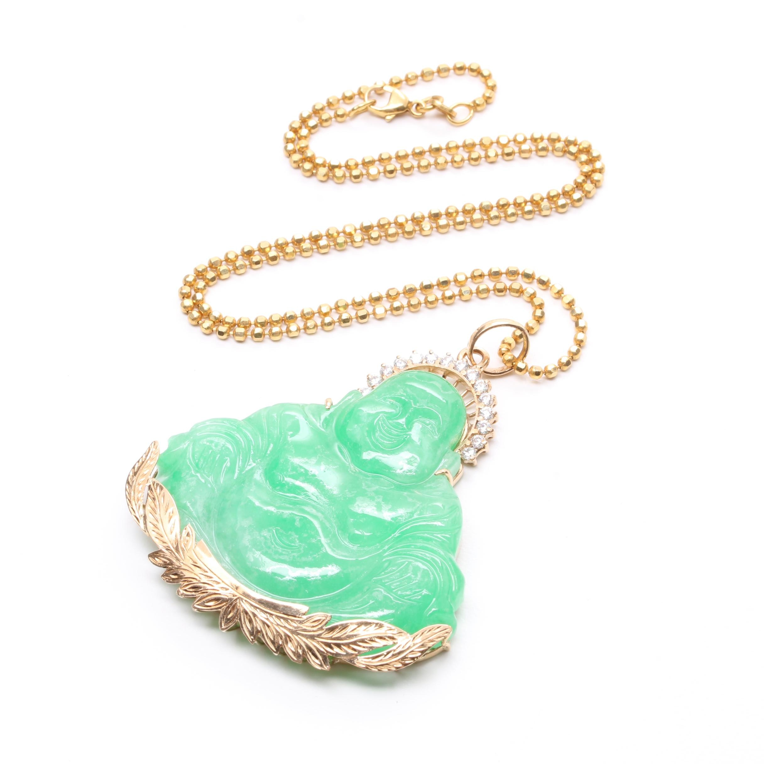14K Yellow Gold Jadeite and Cubic Zirconia Pendant Necklace