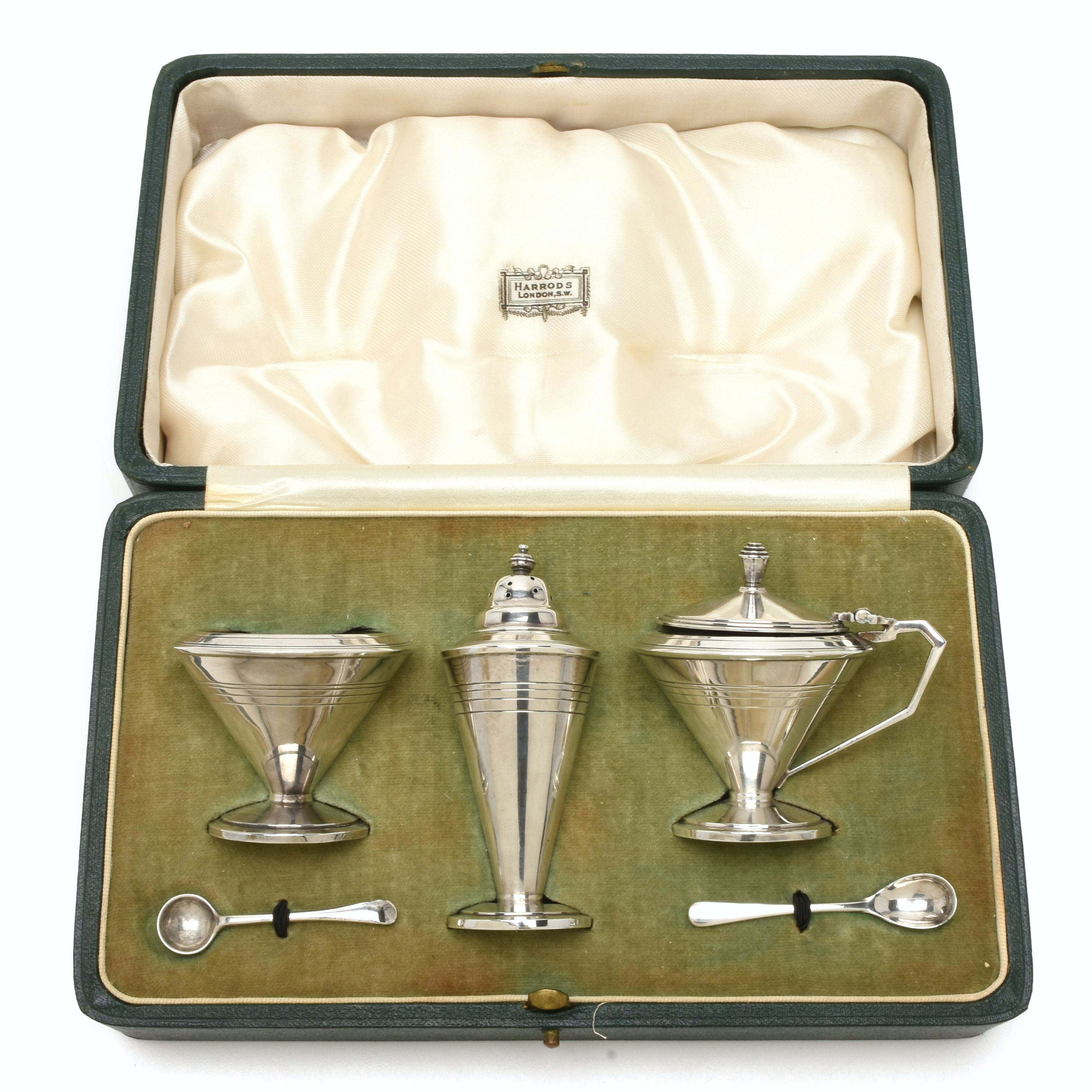 Early Twentieth Century Sterling Condiment Set from Harrods, London