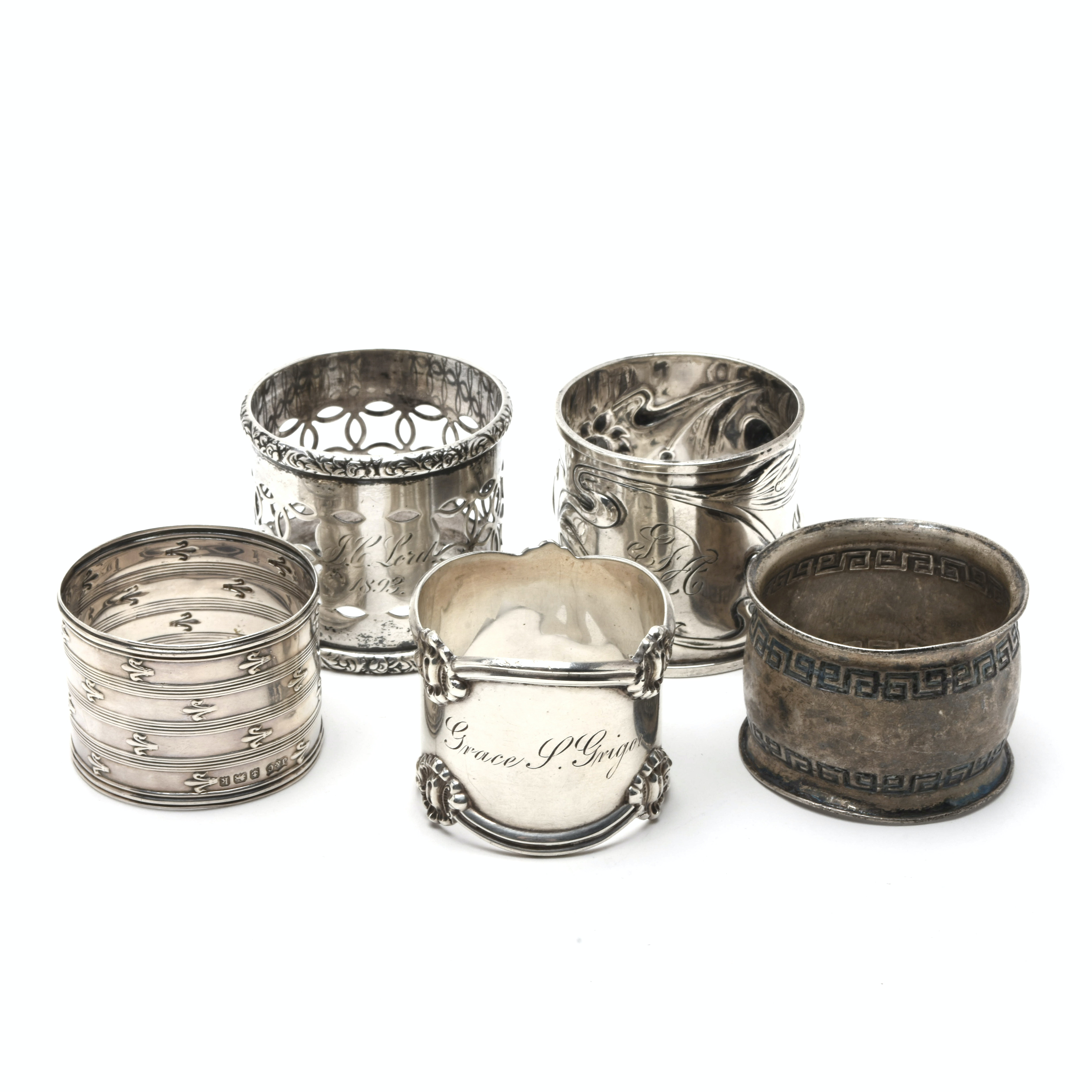 Five Antique Sterling Silver Napkin Rings from Assorted Makers