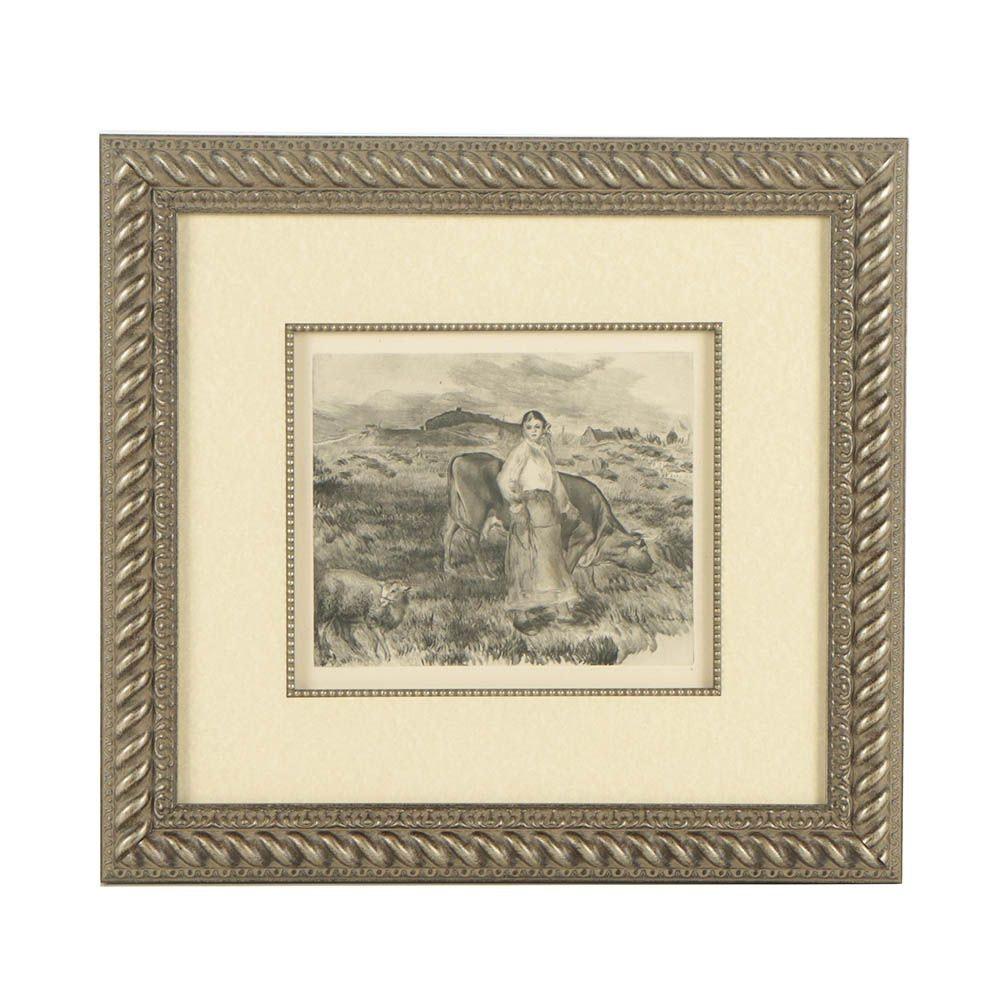 "After Pierre-Auguste Renoir Heliogravure ""The Shepherdess"""