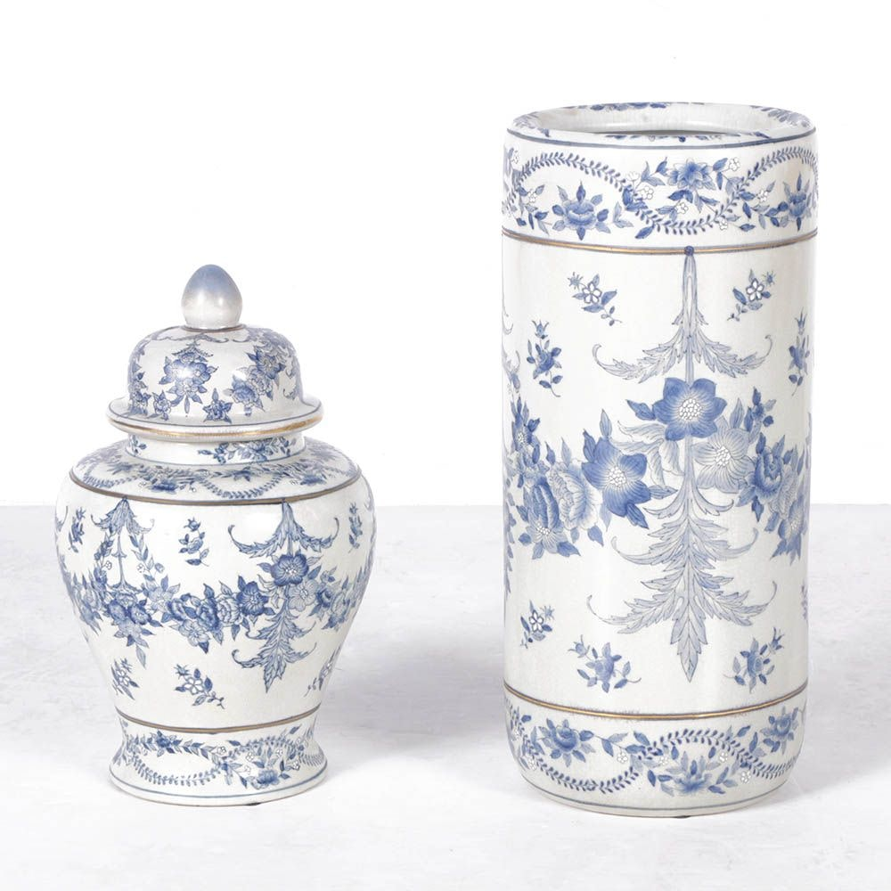 Hand-Painted Blue and White Porcelain Vase and Ginger Jar