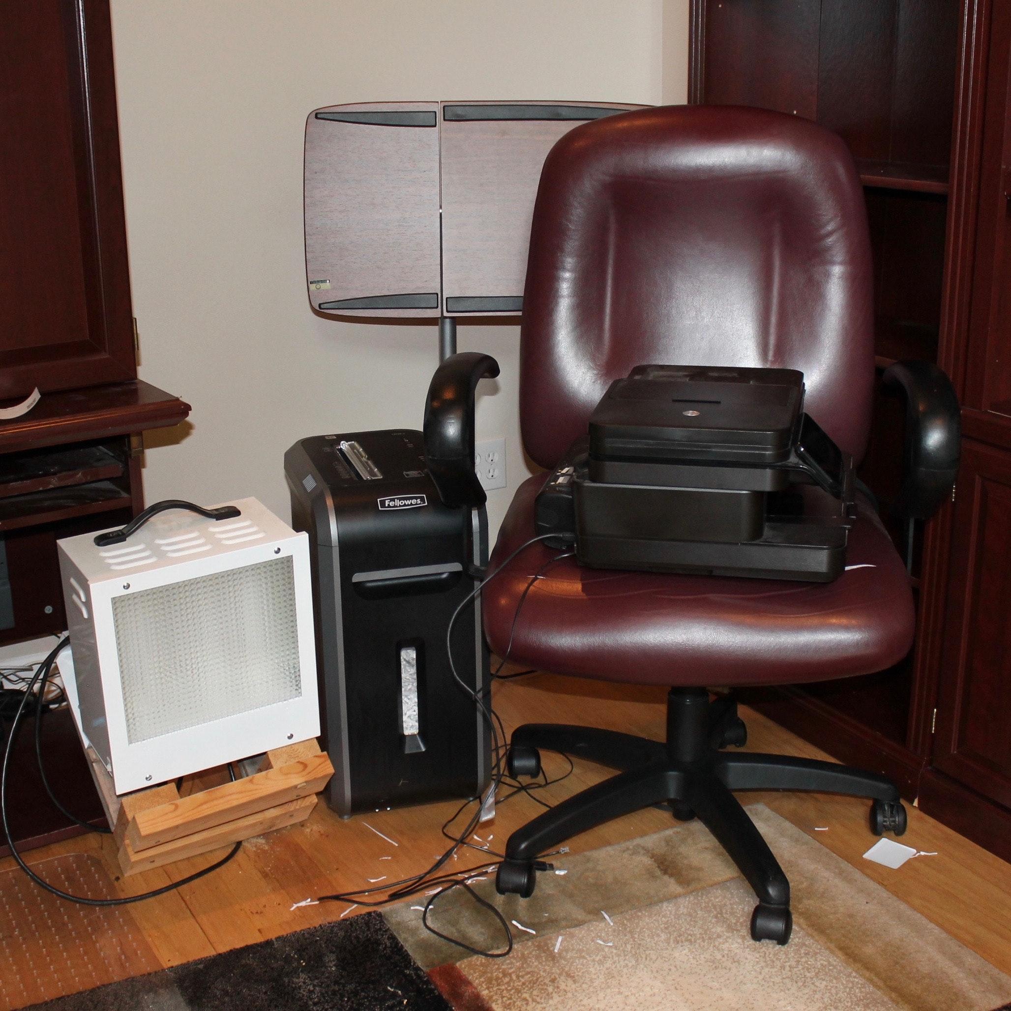 Standing Desk, Office Chair, Paper Shredder, Printer, and UV Lamp