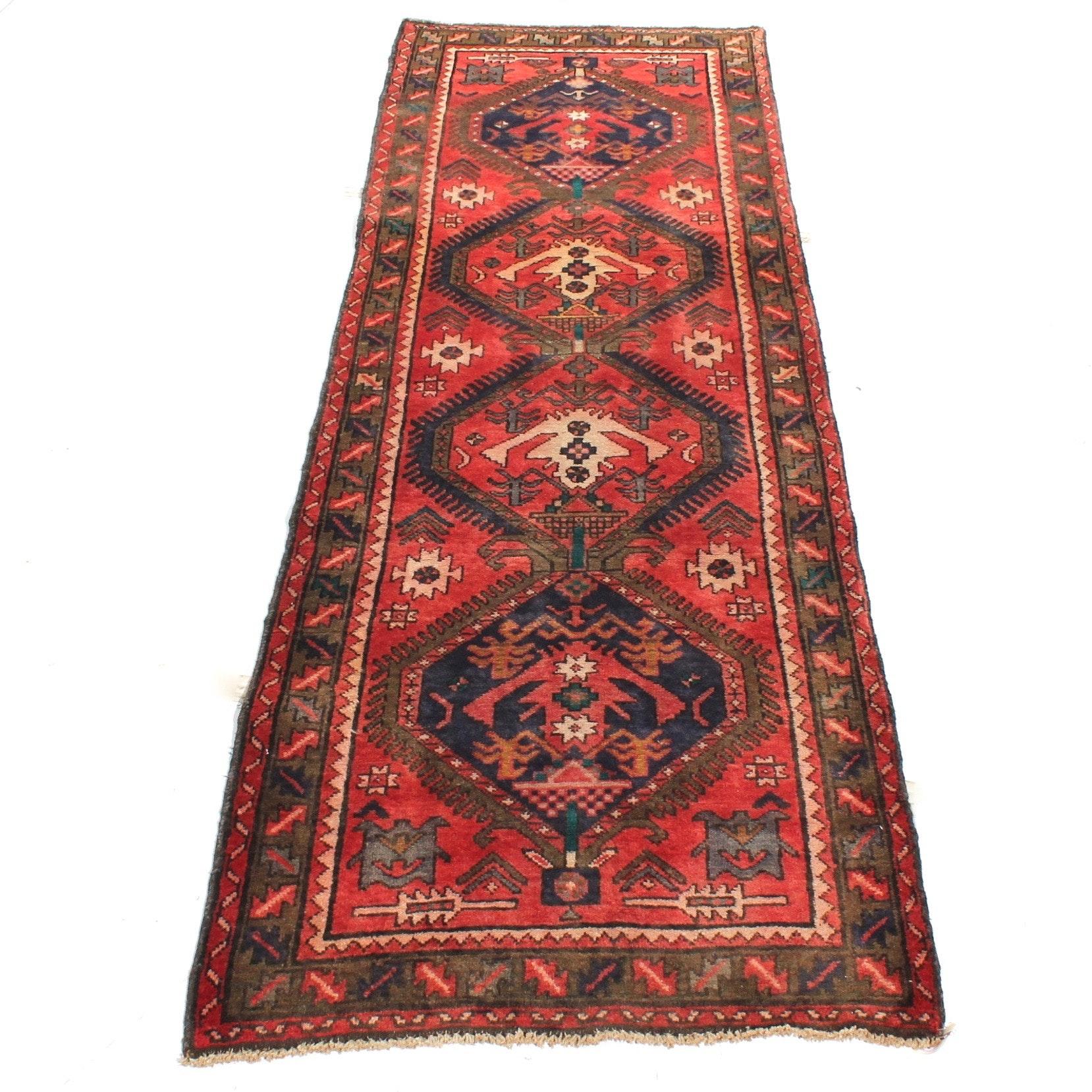 3'2 x 10'2 Vintage Hand-Knotted Persian Karaja Heriz Rug