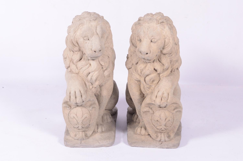 Cast Concrete Lion Outdoor Sculptures