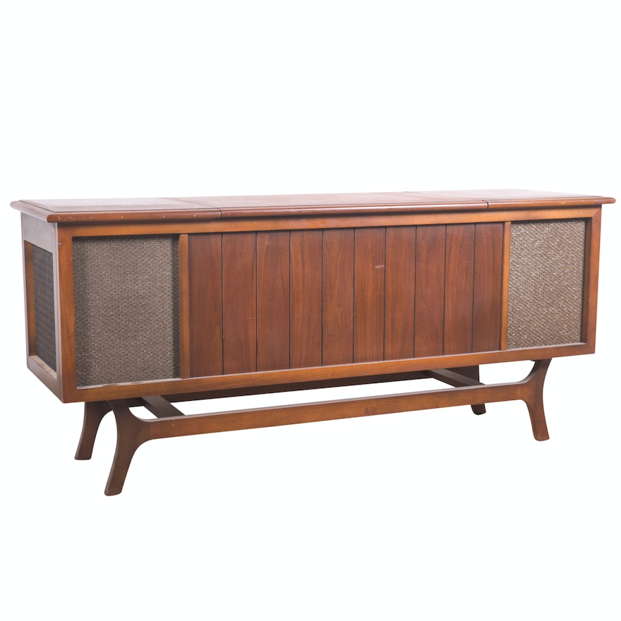 Vintage Mid Century Modern Walnut Stereo Cabinet By Airline