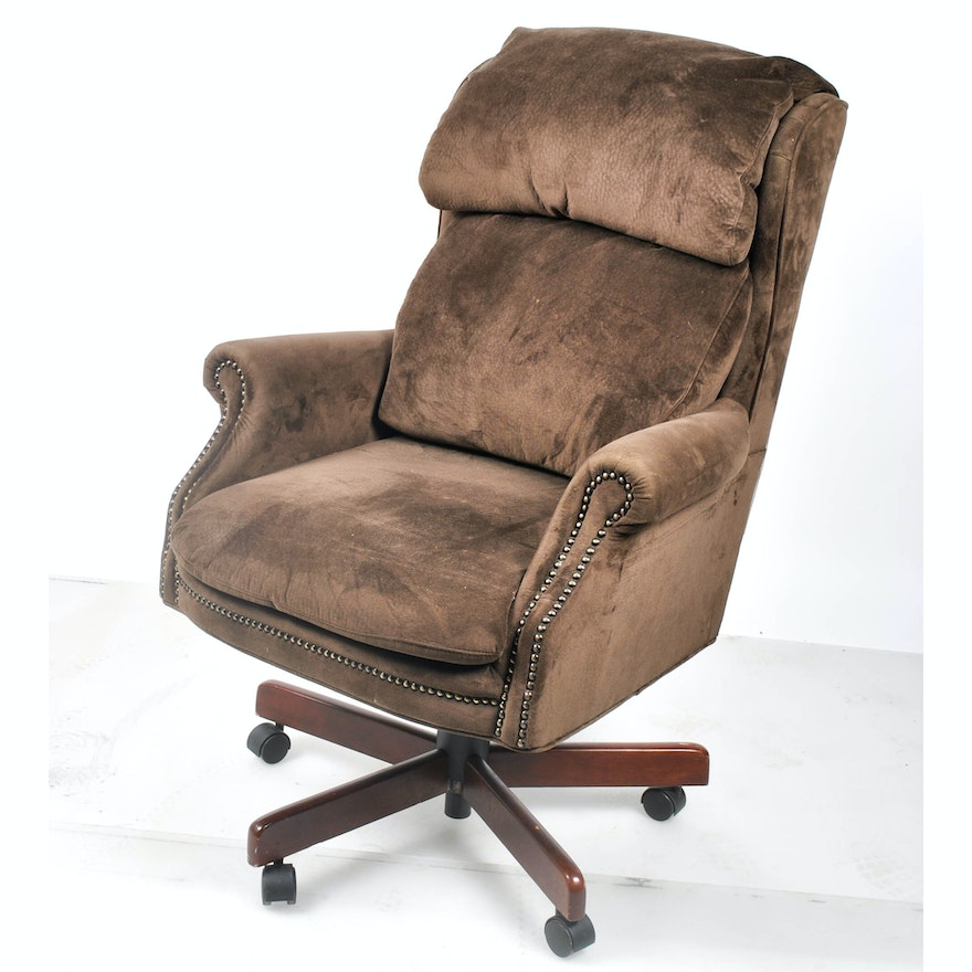 Brown Microsuede Upholstered Office Chair With Nailhead Trim By Best Chairs Inc