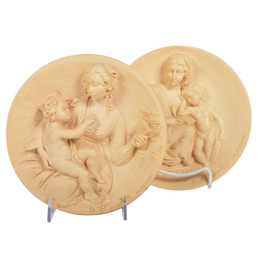 "Handmade Bradford Exchange Italian Alabaster ""Living Madonna"" Collector Plates"