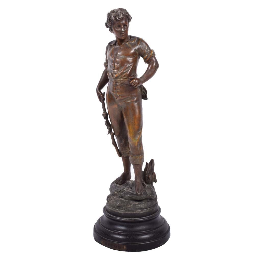 """Vintage After Auguste Moreau Copper """"Repos"""" Statue"""