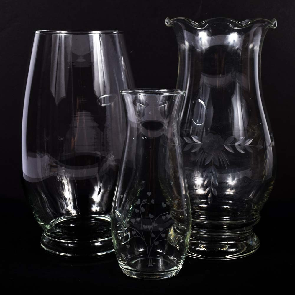 Glass Vases Featuring Etched Vases
