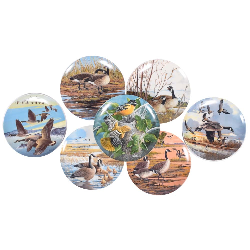 "Bradford Exchange Bird Plates Featuring ""Wings Upon the Wind"", ""Birds of Garden"""