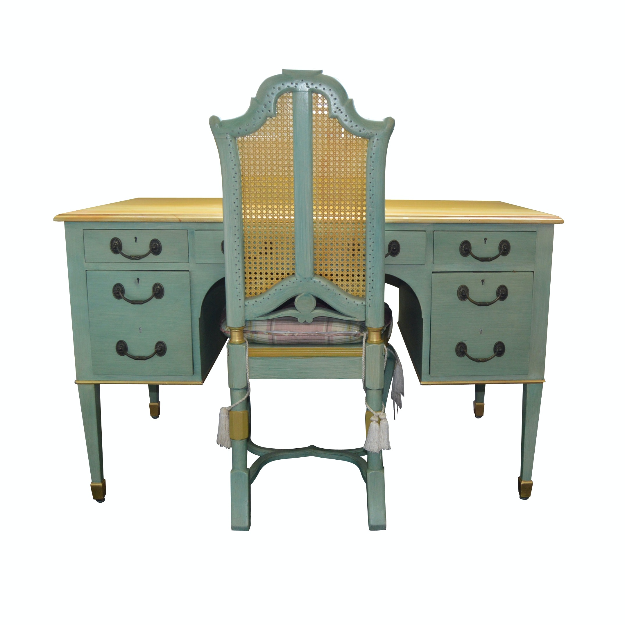French Cottage Style Painted Desk and Chair