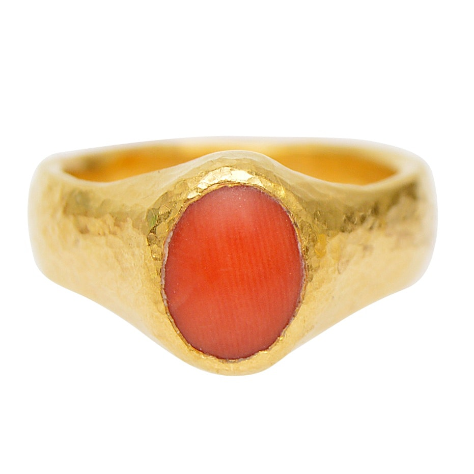 Gurhan 24K Yellow Gold Coral Ring