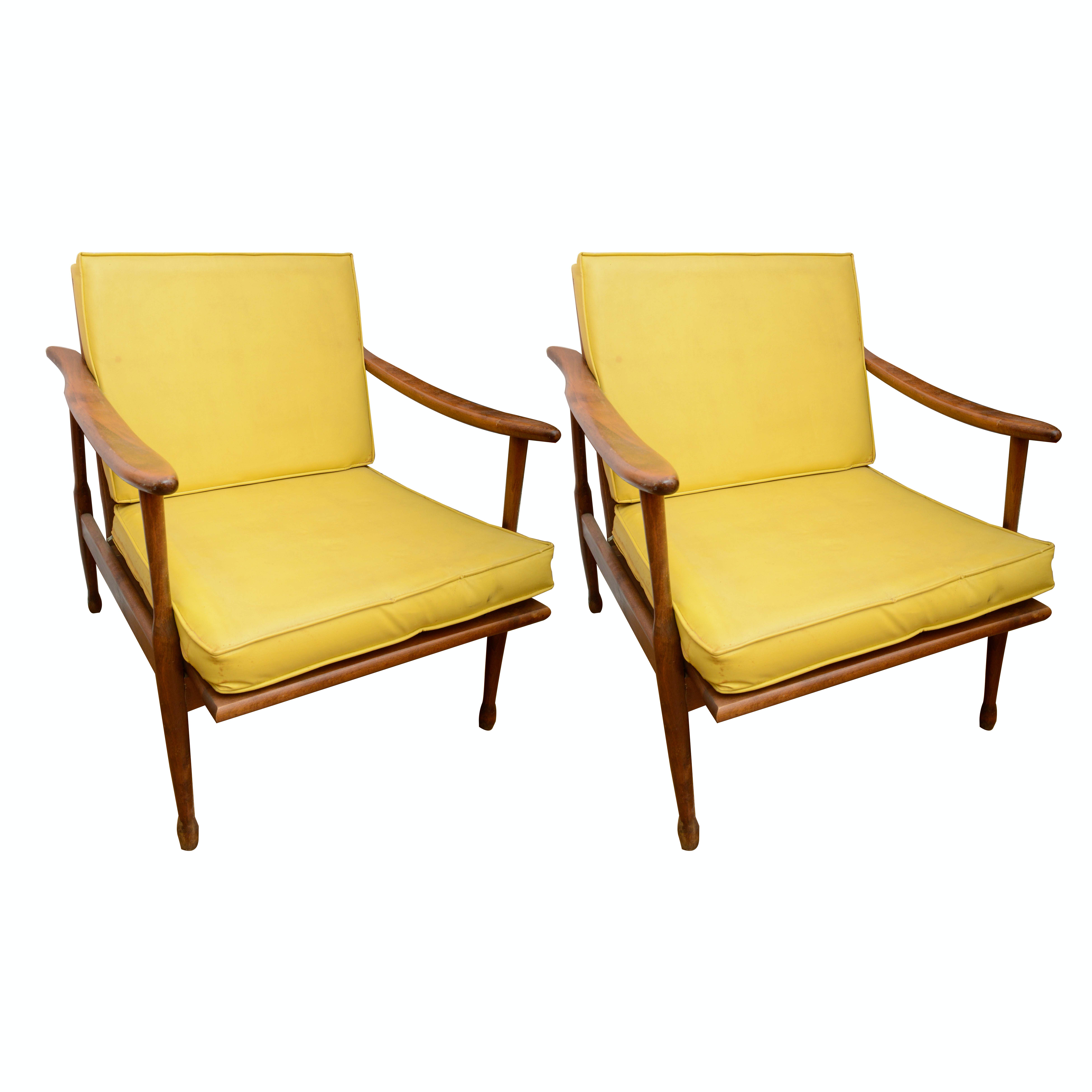 Danish Modern-Style Arm Chairs with Cushions
