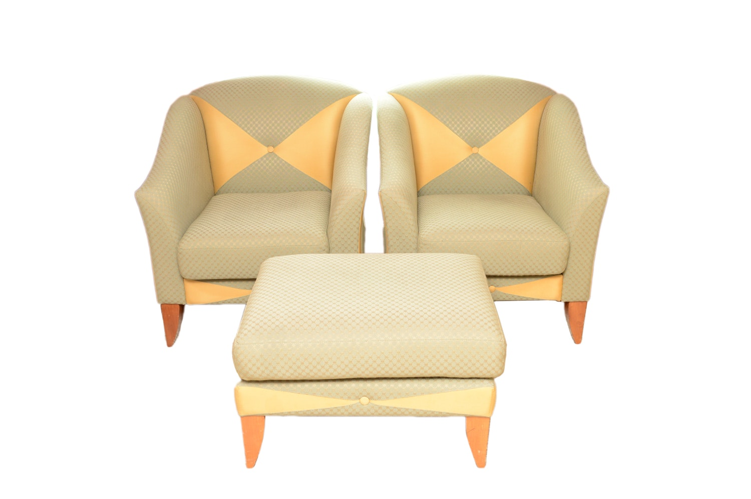 Upholstered Club Chairs and Matching Ottoman