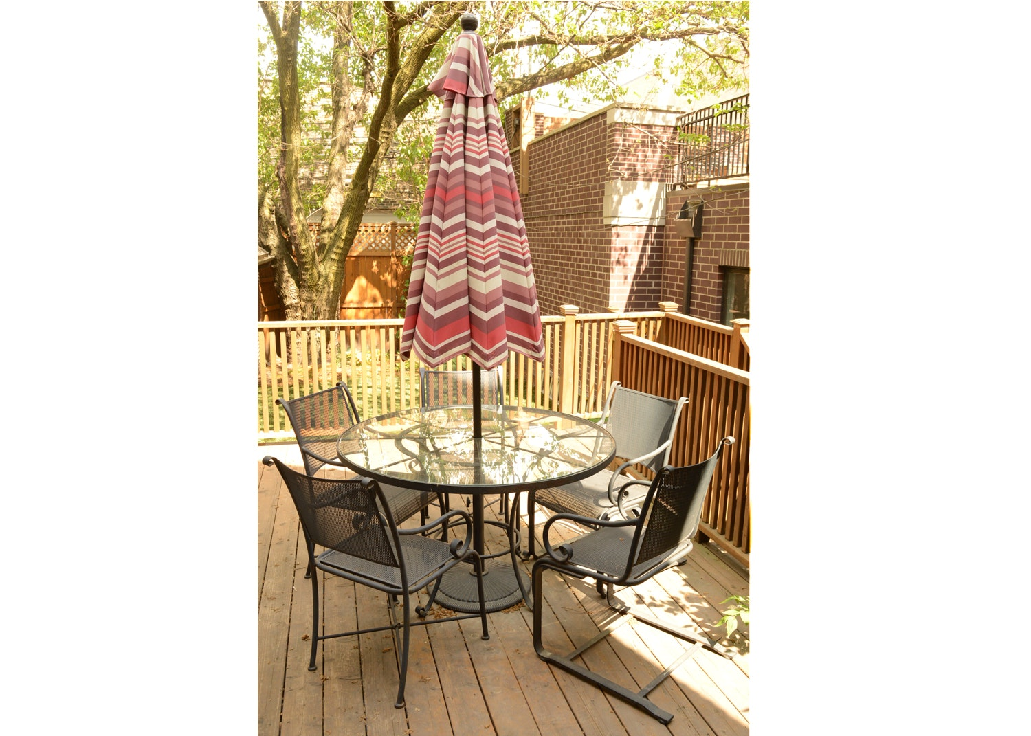 Glass Top Patio Table with Summer Classics Chairs and Umbrella