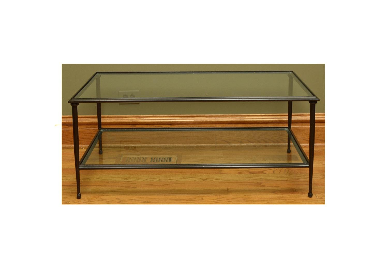 Black Metal Glass Top Coffee Table with Glass Shelf