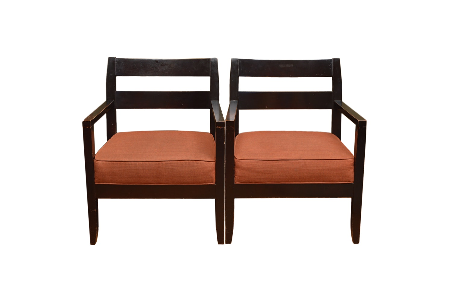Wood Armchairs with Upholstered Seats by McCreary Modern