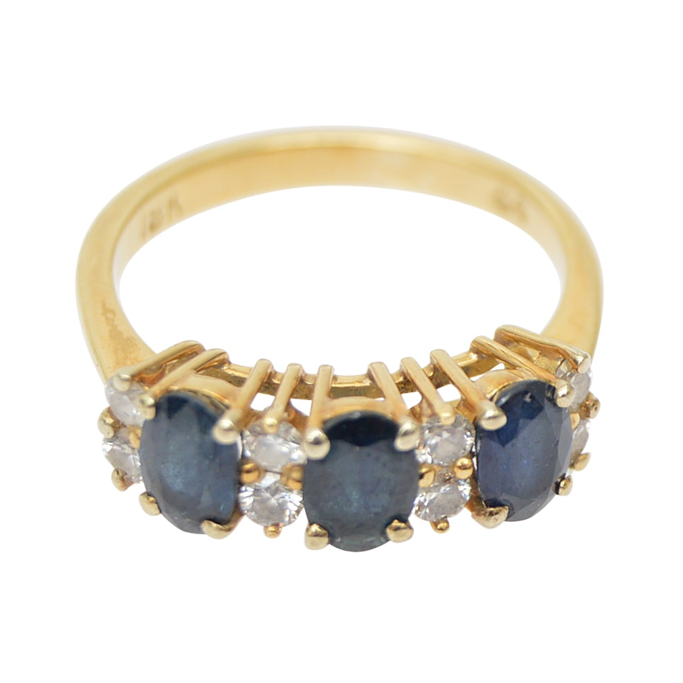 18K Yellow Gold Diamond Blue Sapphire Ring