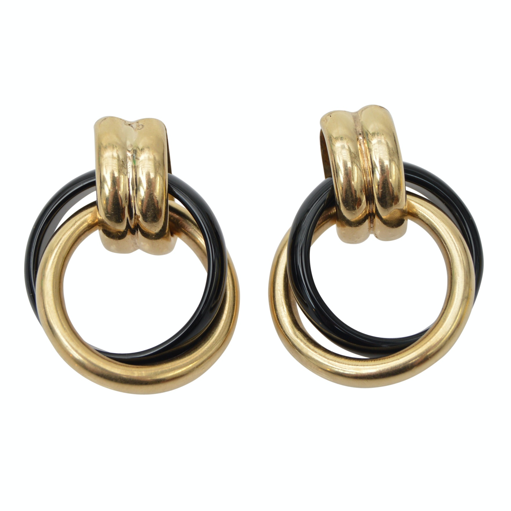 14K Yellow Gold Black Onyx Double Hoop Pierced Earrings