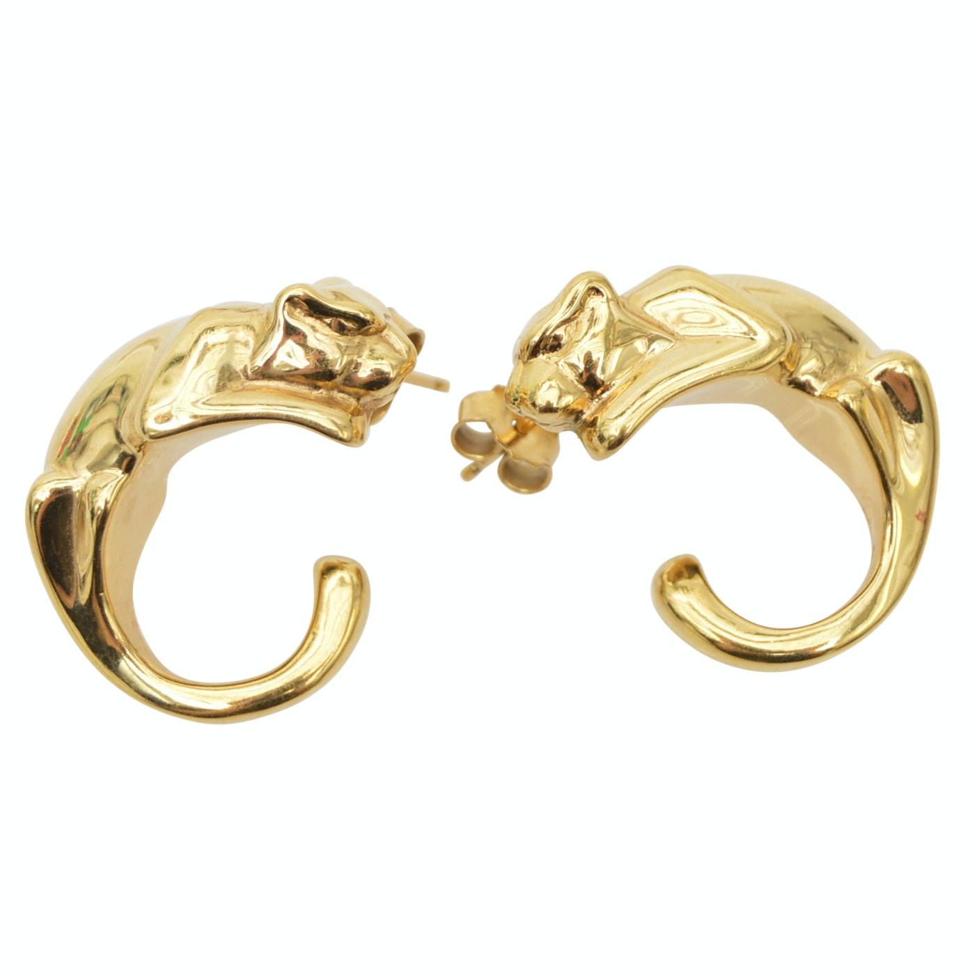 14K Yellow Gold Leopard Pierced Earrings
