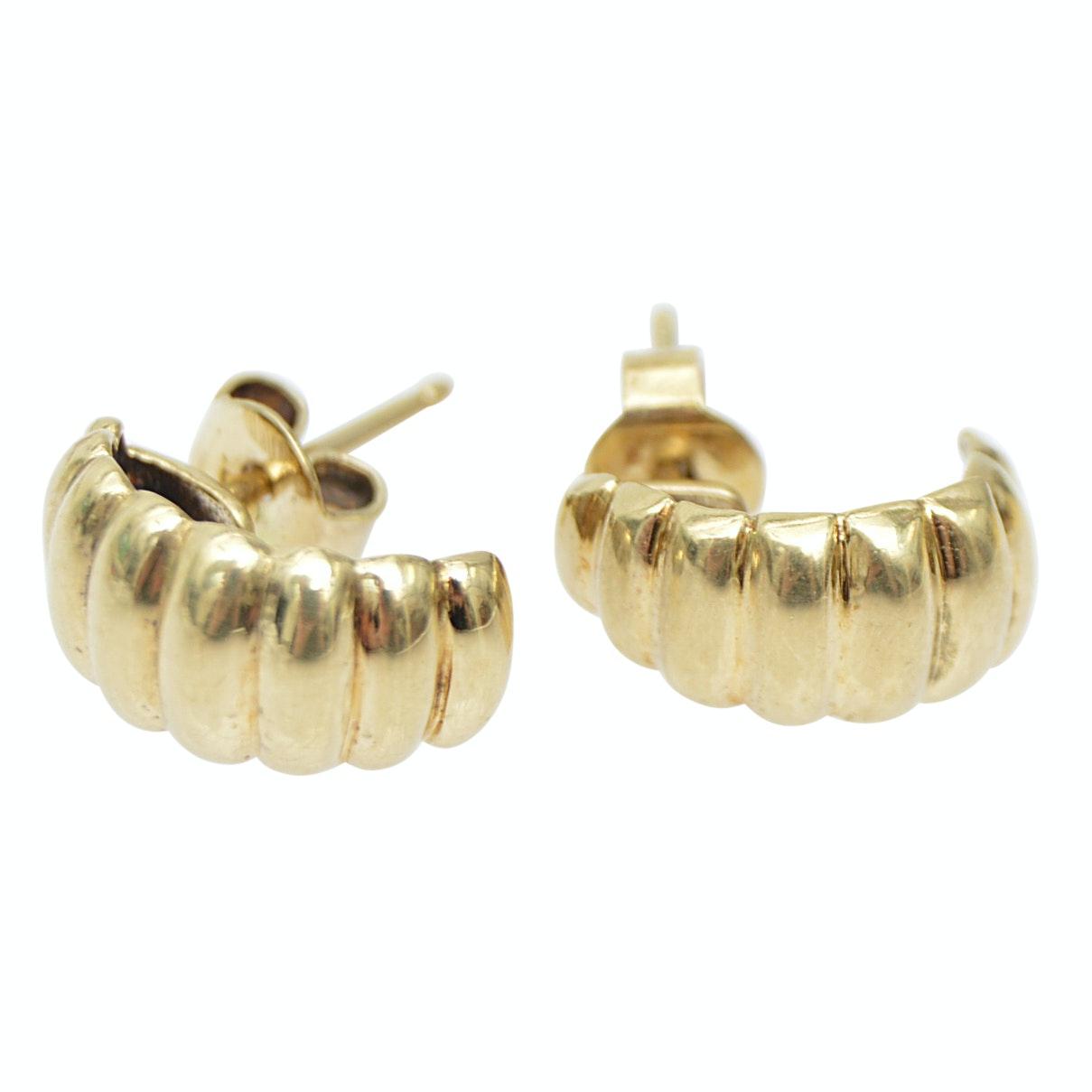 14K Yellow Gold Ribbed Pierced Earrings