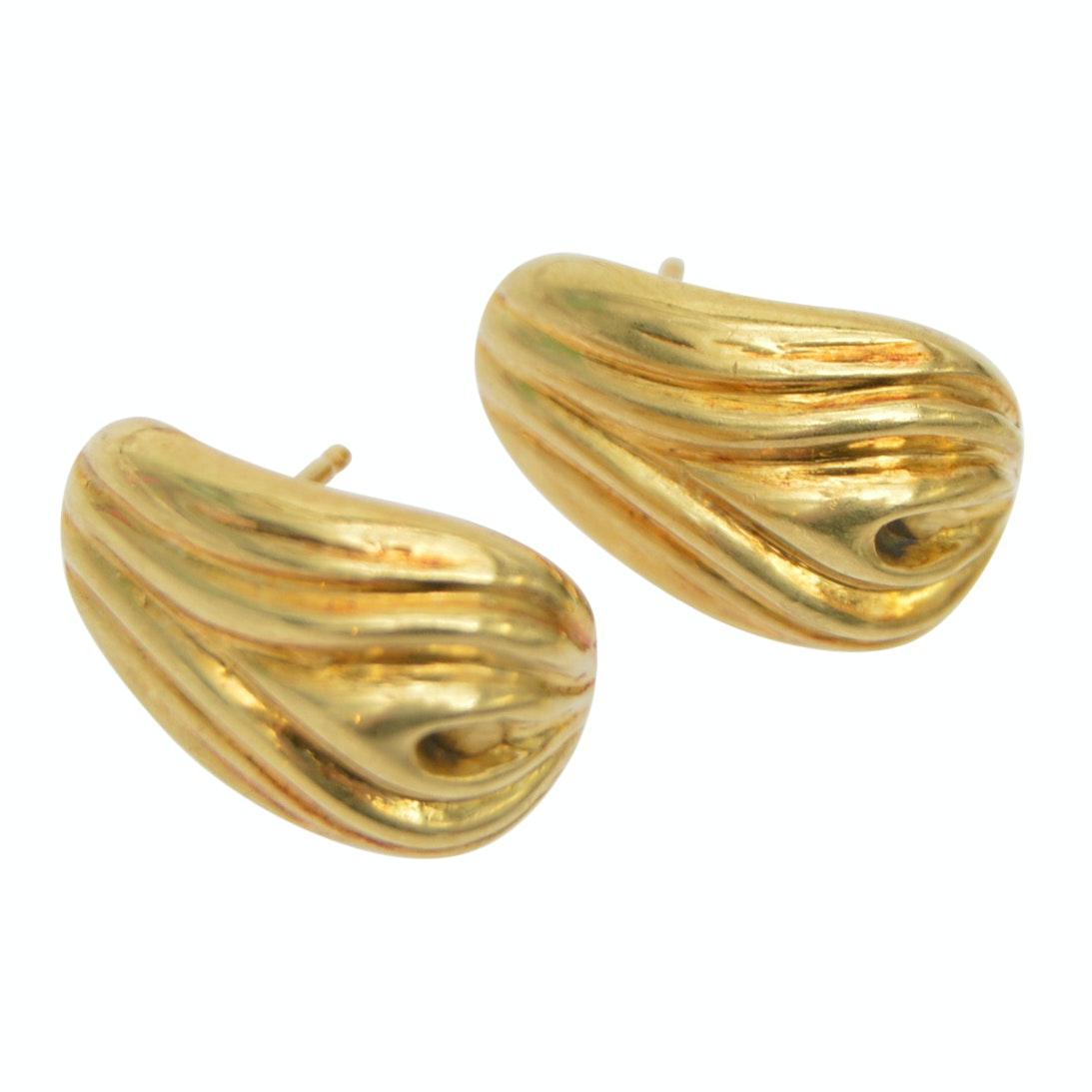 18K Yellow Gold Ribbed Pierced Earrings