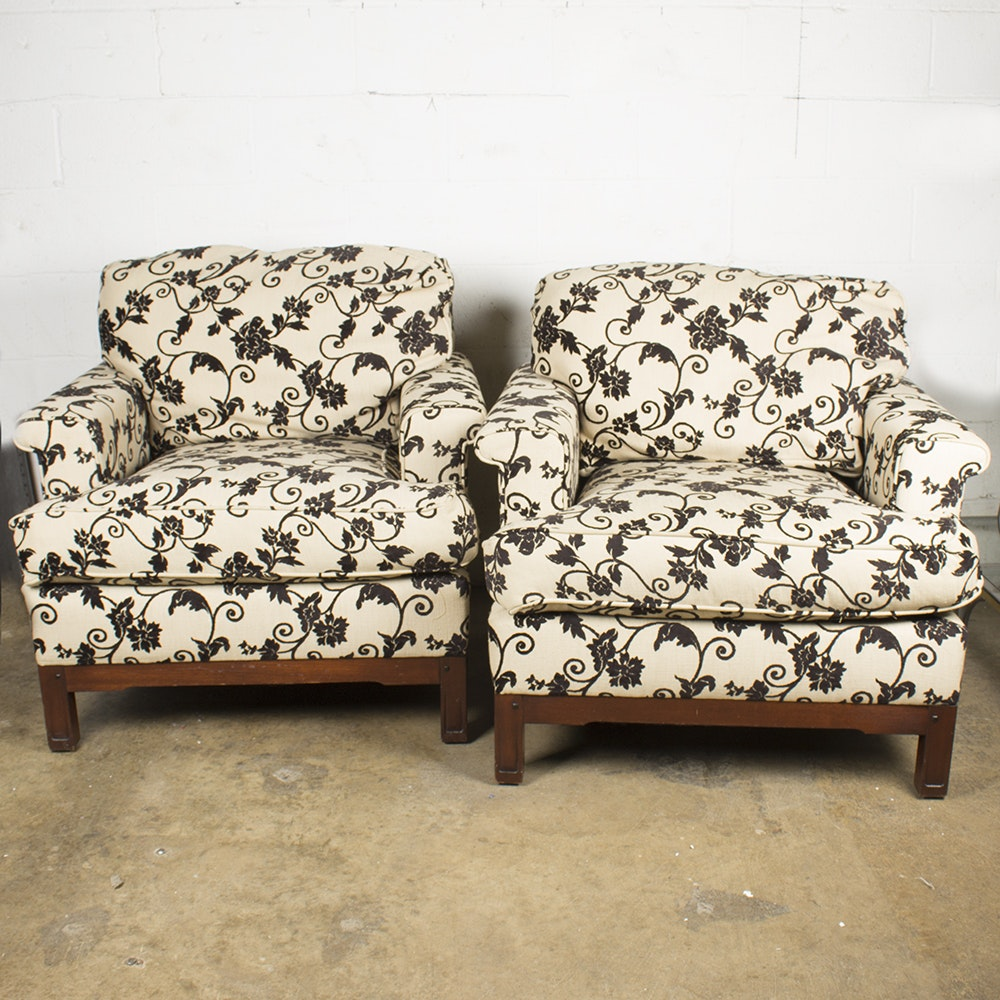 Stickley Upholstered Brown and Cream Botanical Print Armchairs