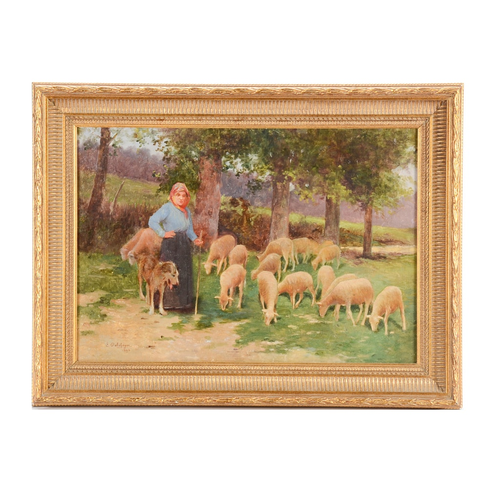 Eugène Delahogue 1896 Oil Painting on Canvas of a Shepherd and Sheep