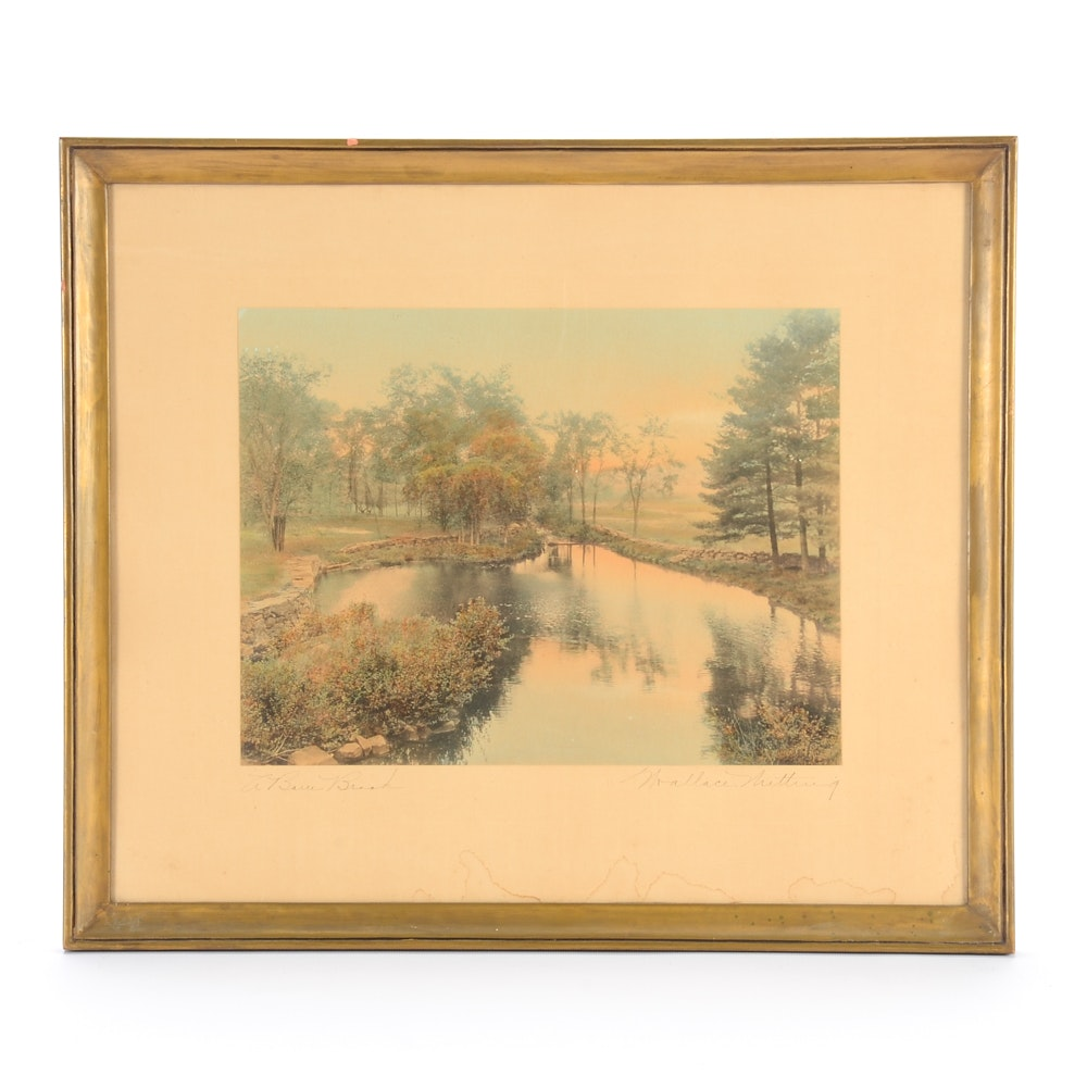 "Wallace Nutting Hand-colored Photograph ""A Barre Brook"""