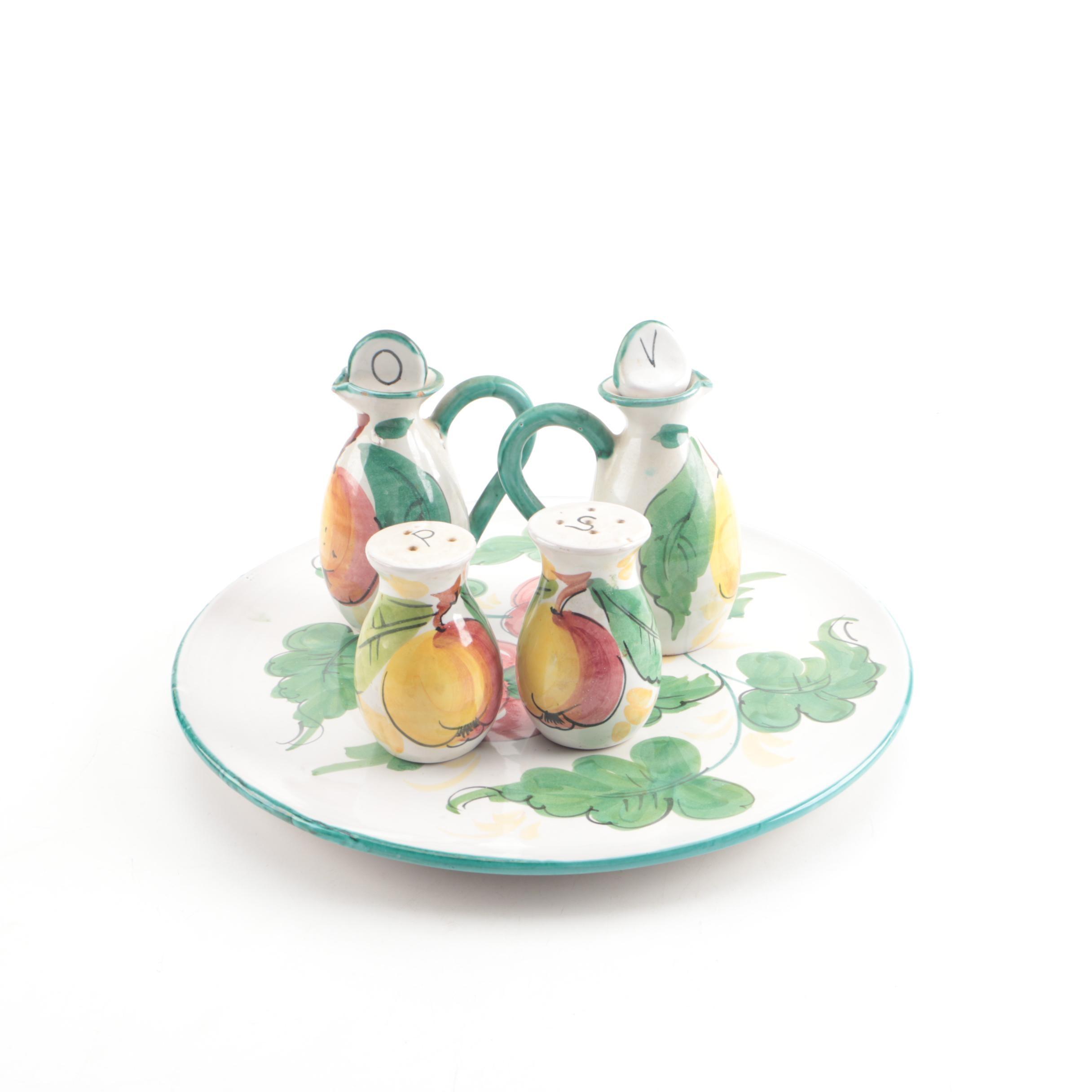 Hand-painted Italian Faience Serveware