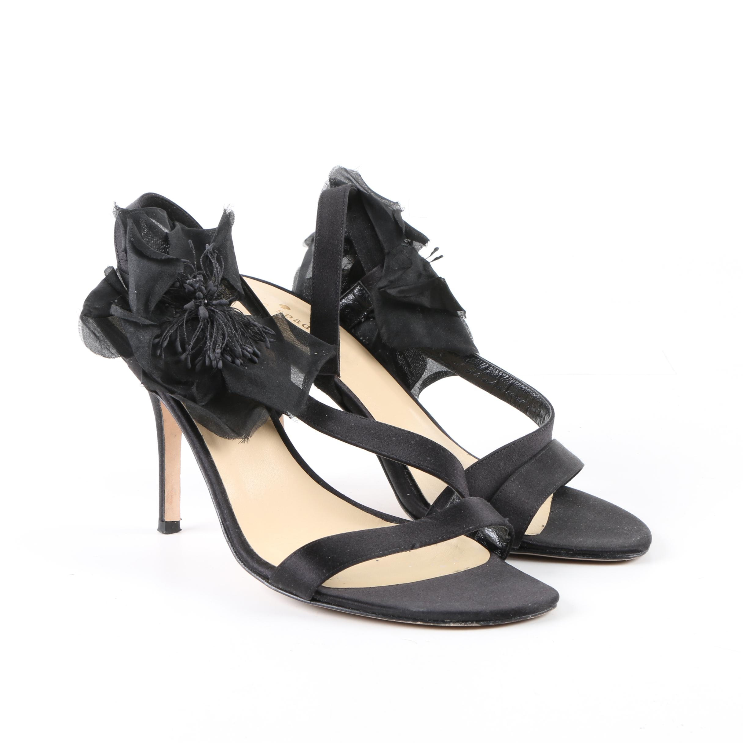 Kate Spade New York Black Satin Heeled Dress Sandals